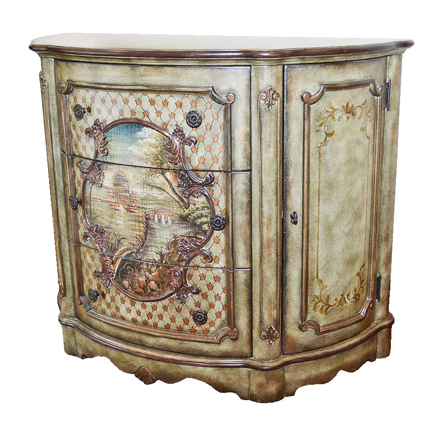 Hand-Painted Demilune Console Cabinet by Pulaski Furniture : EBTH