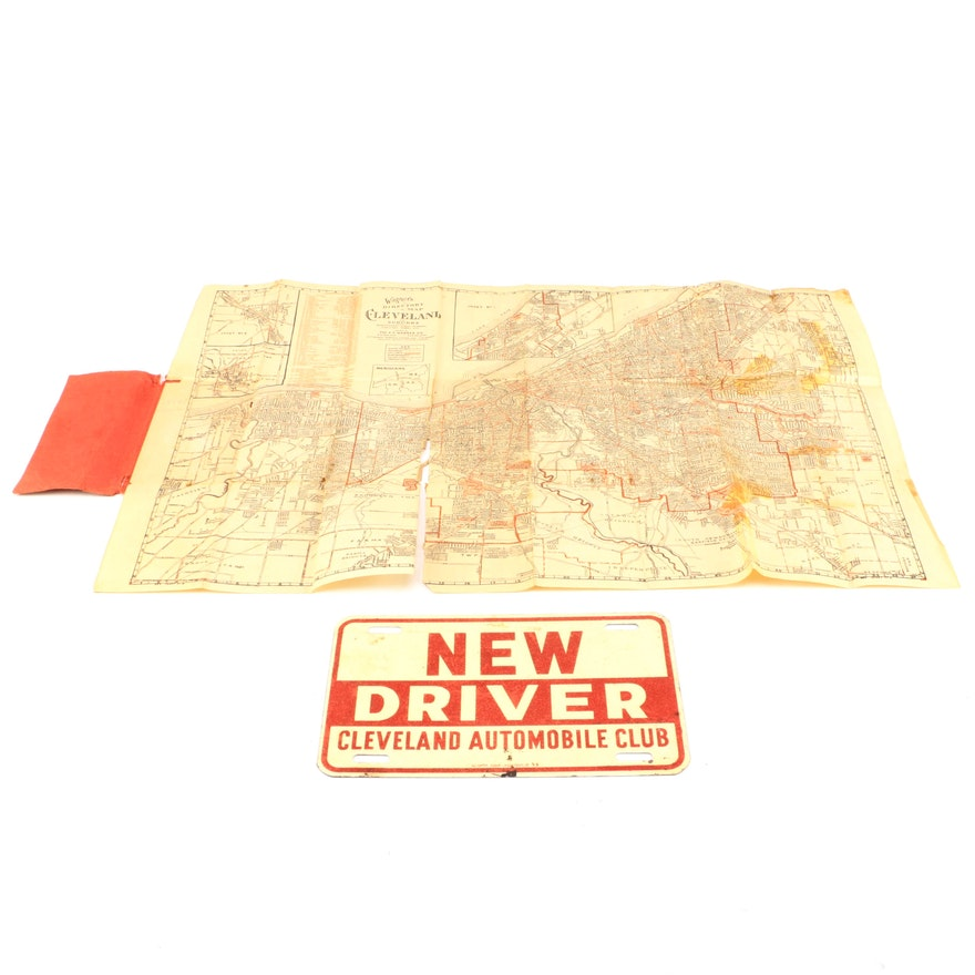 1930s Cleveland Map And Directory Automobile Club License Plate Ebth