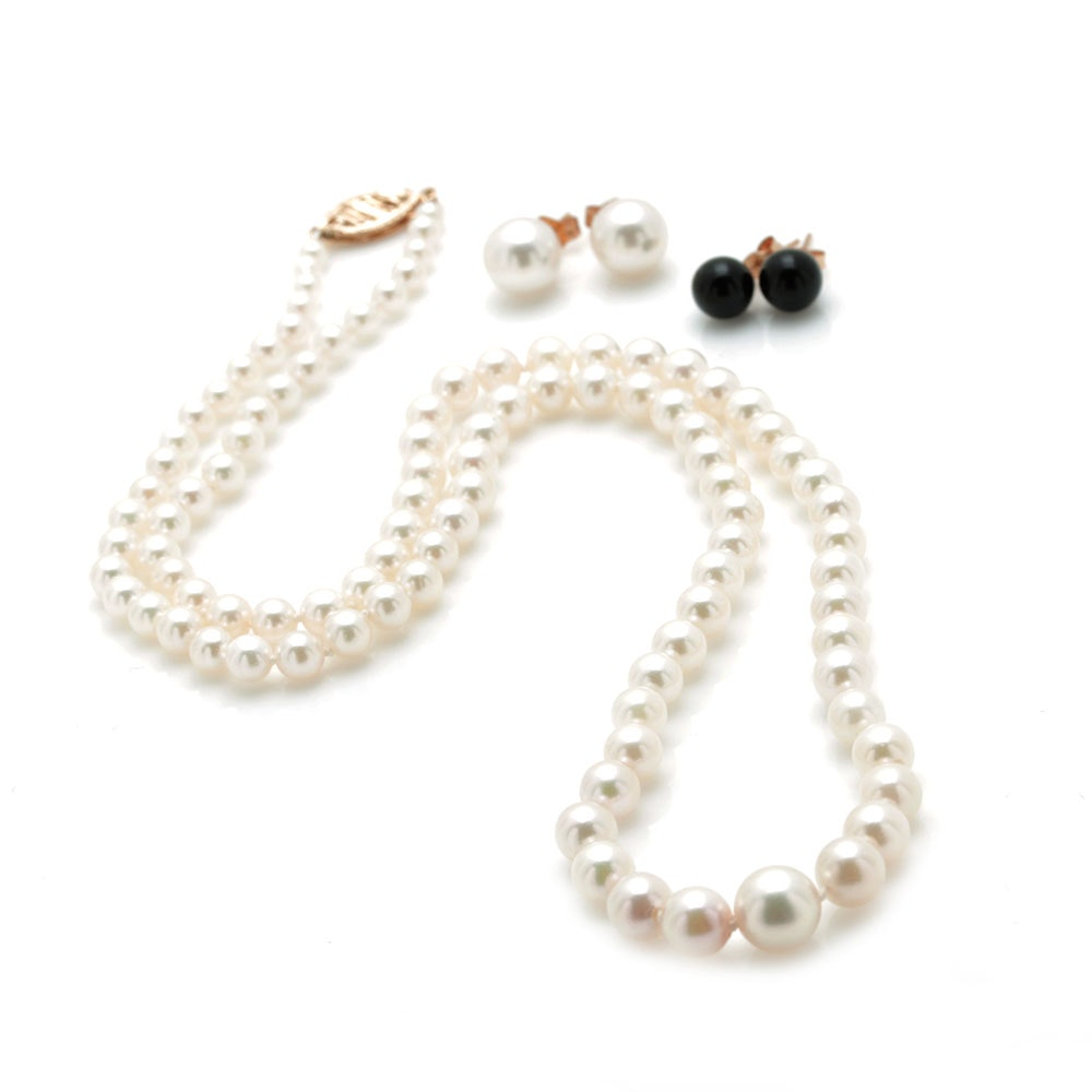 14K Yellow Gold Graduated Cultured Pearl Necklace With Pearl and Onyx Earrings