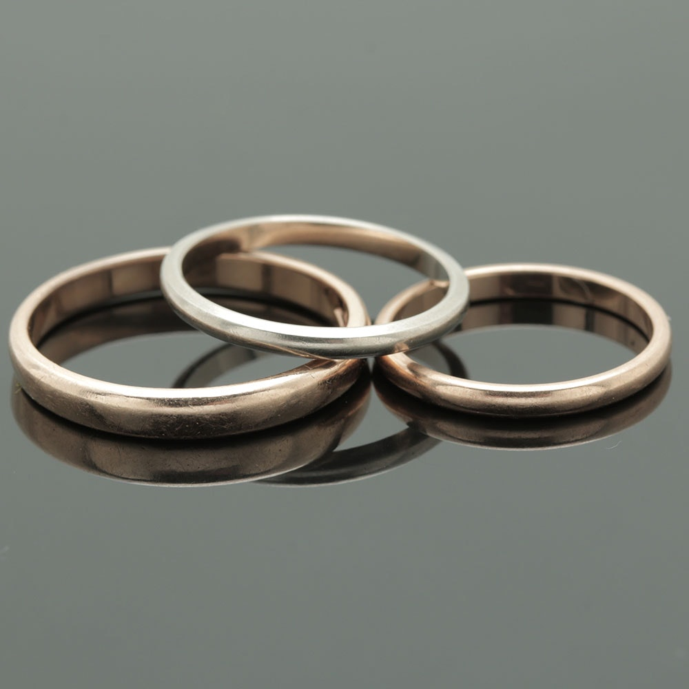 14K Yellow and White Gold Ring Bands