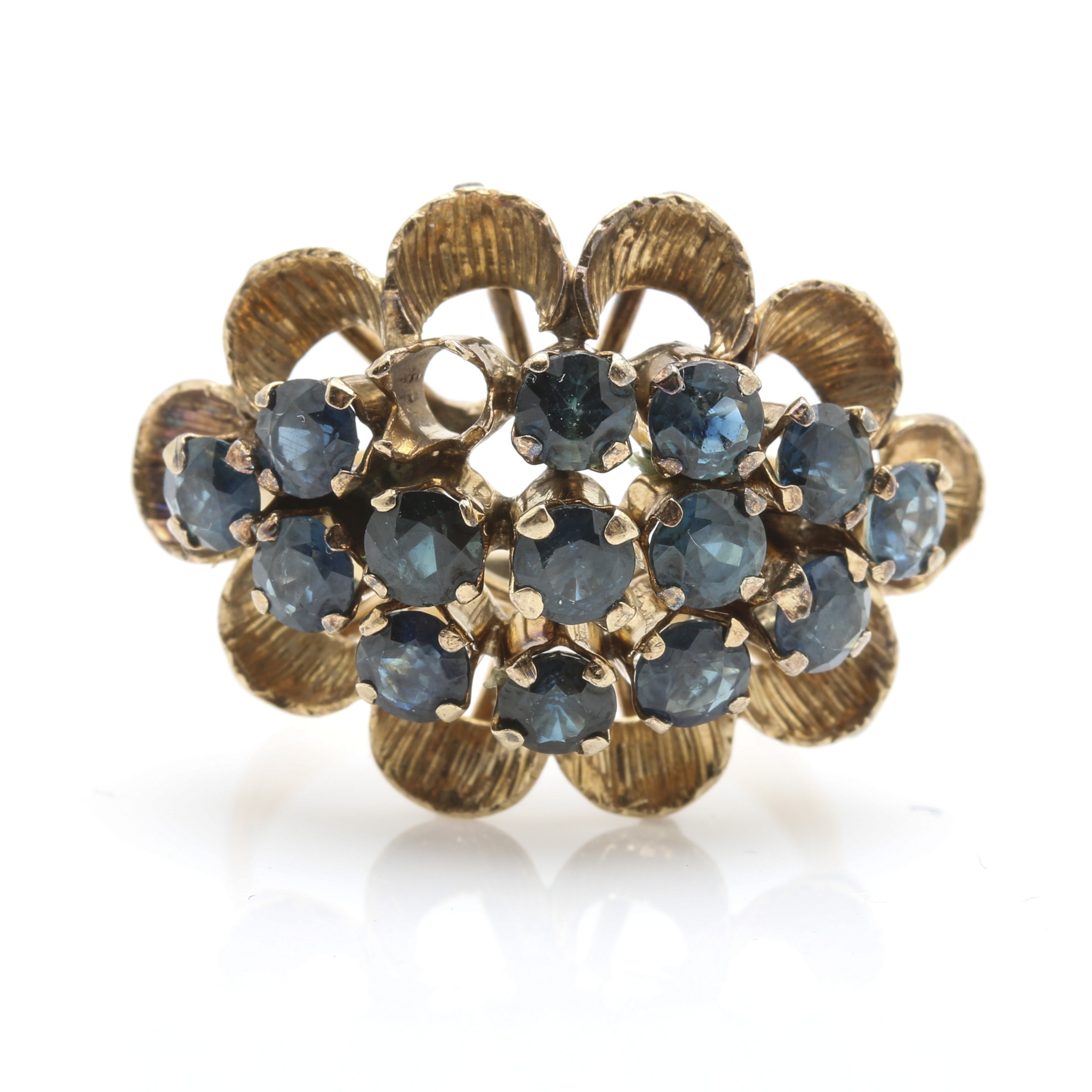 10K and 14K Yellow Gold Sapphire Cluster Ring