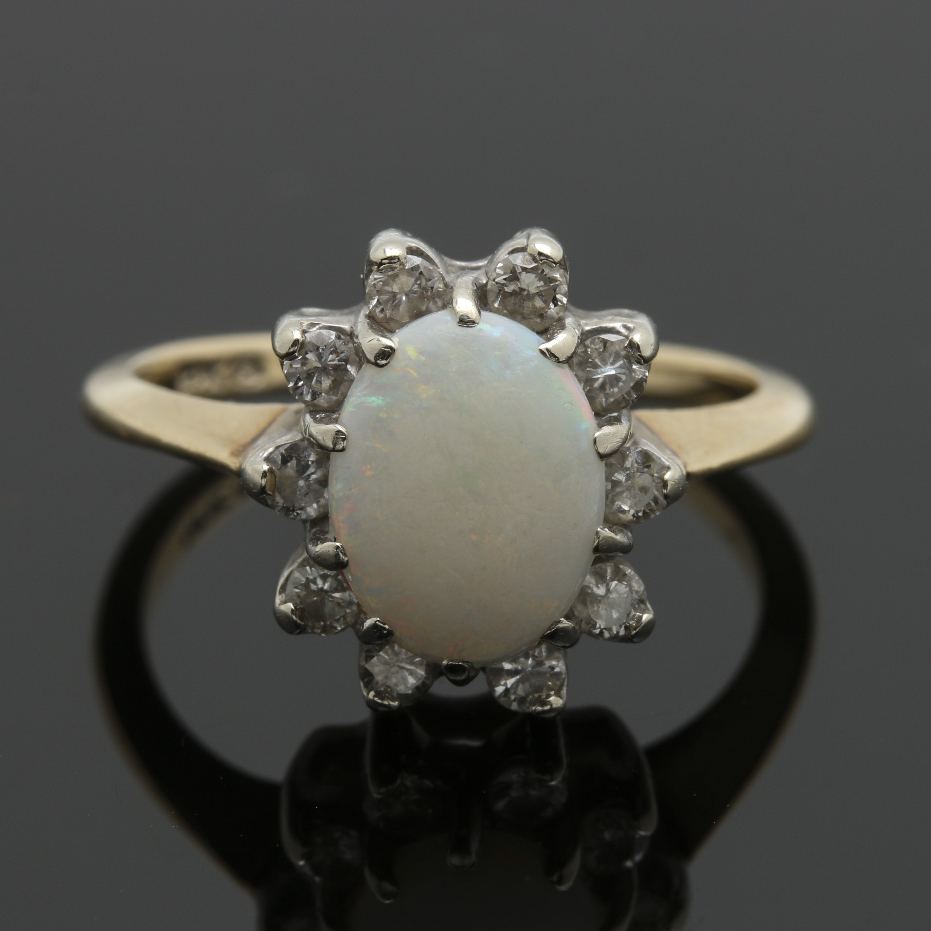 14K Two Tone Gold Opal and Diamond Ring