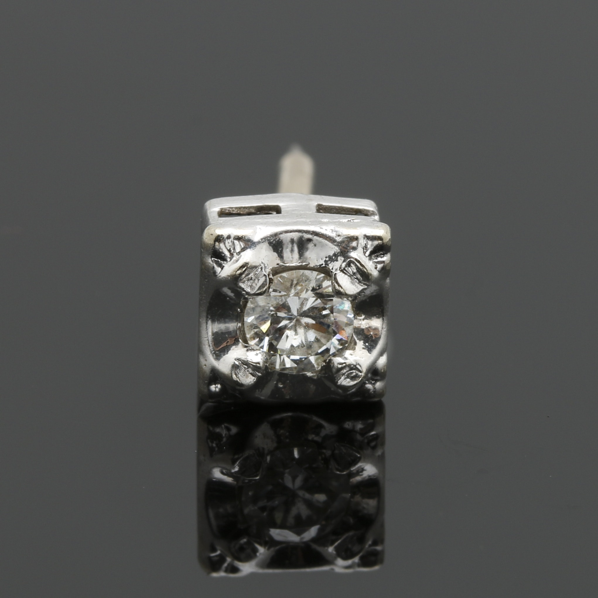 14K White Gold Diamond Tie Tack