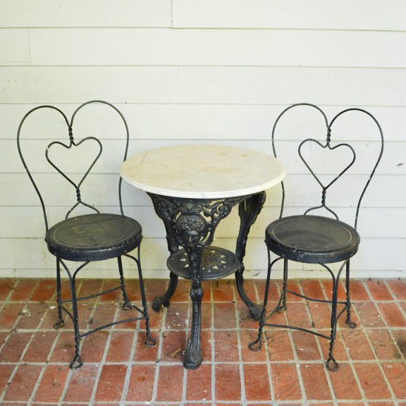 Marble Top Iron Table and Ice Cream Parlor Chairs