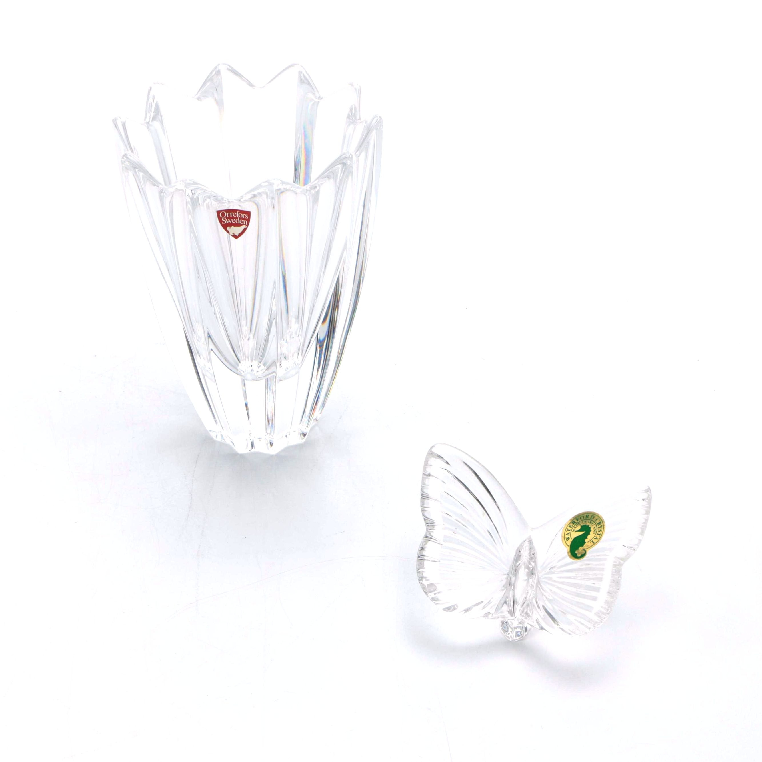 Orrefors Crystal Vase and Waterford Butterfly
