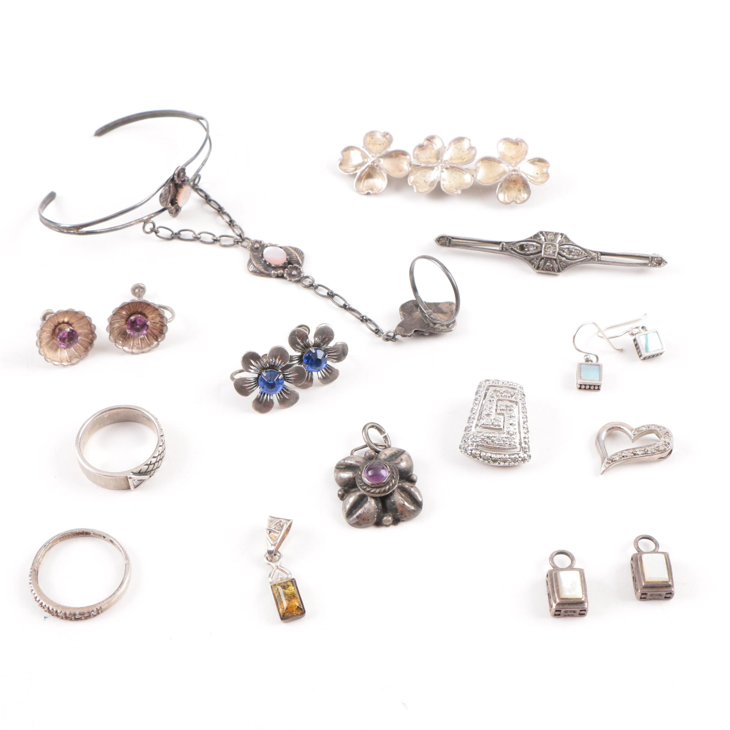 Assortment of Sterling Silver Gemstone Jewelry