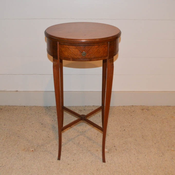 Antique French Walnut and Herringbone Inlaid Lamp Table