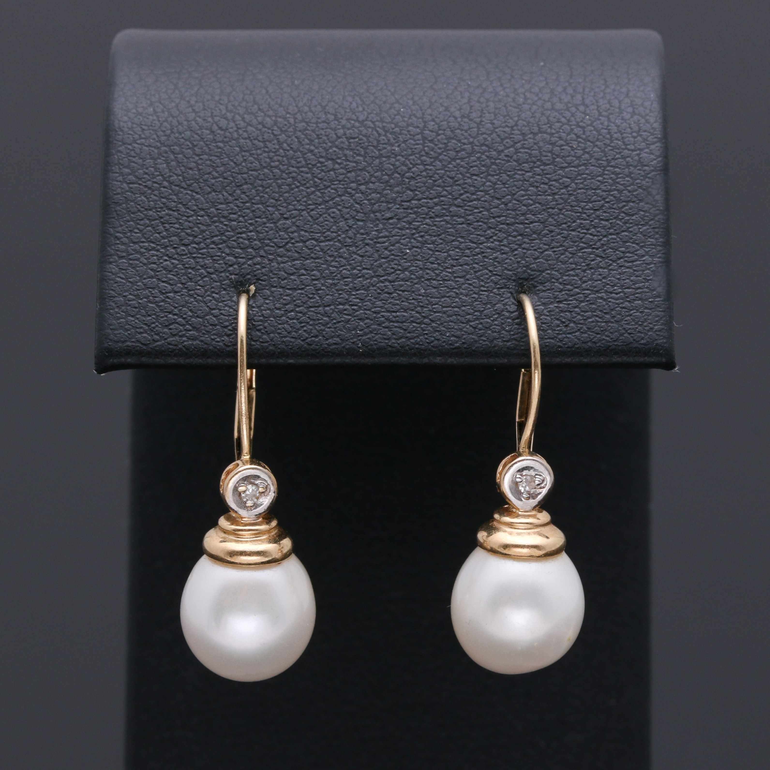 14K Yellow Gold Diamond and Cultured Pearl Drop Earrings