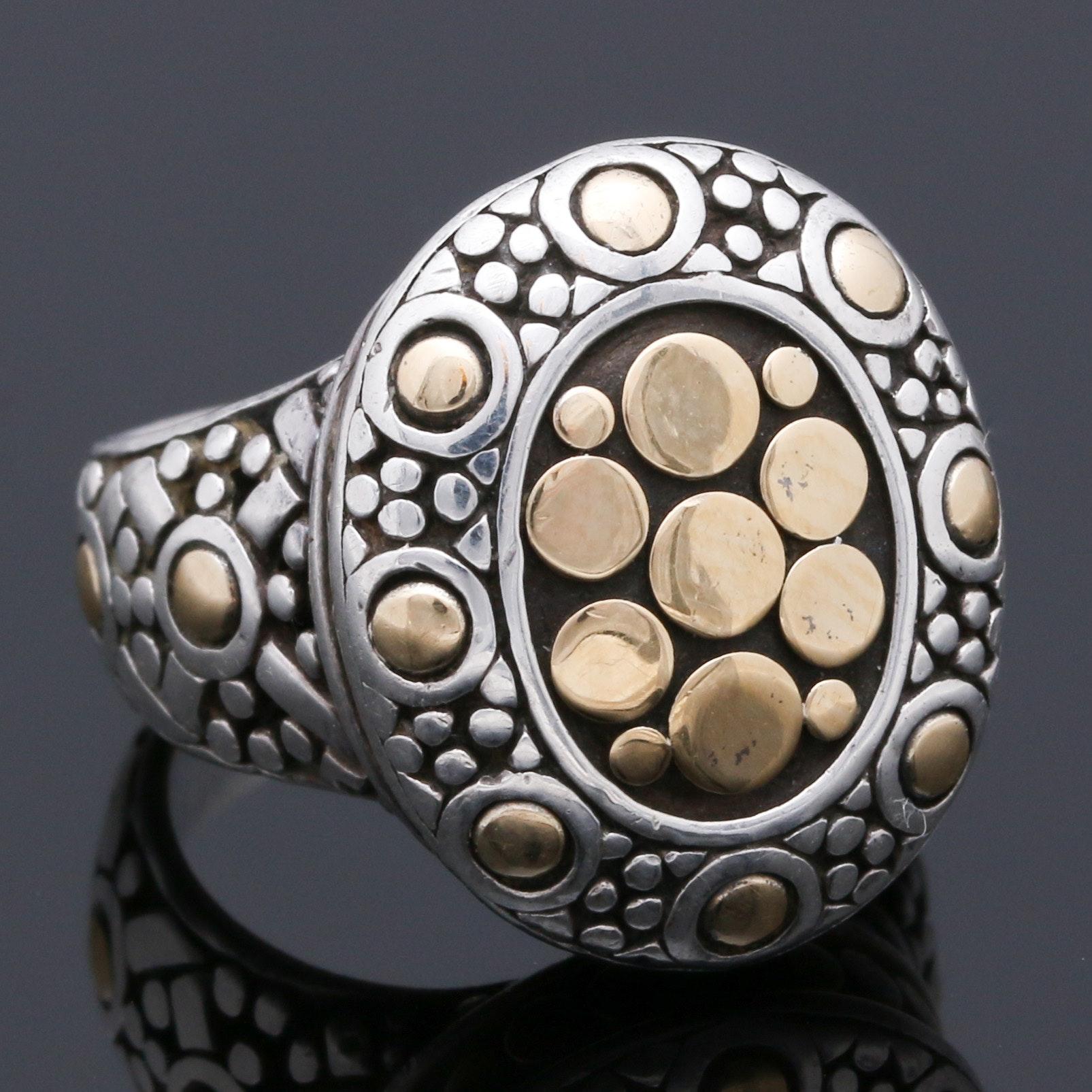 "John Hardy Sterling Silver and 18K Yellow Gold ""Jaisalmer Dot"" Ring"