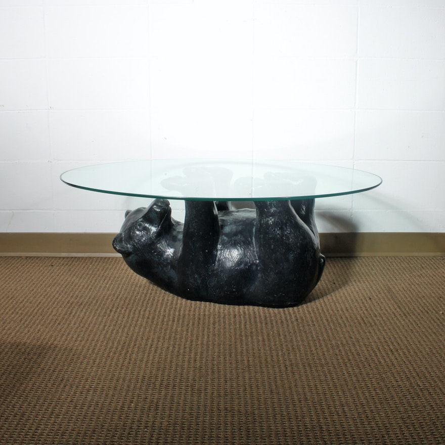 Glass Top Coffee Table With Black Bear Base