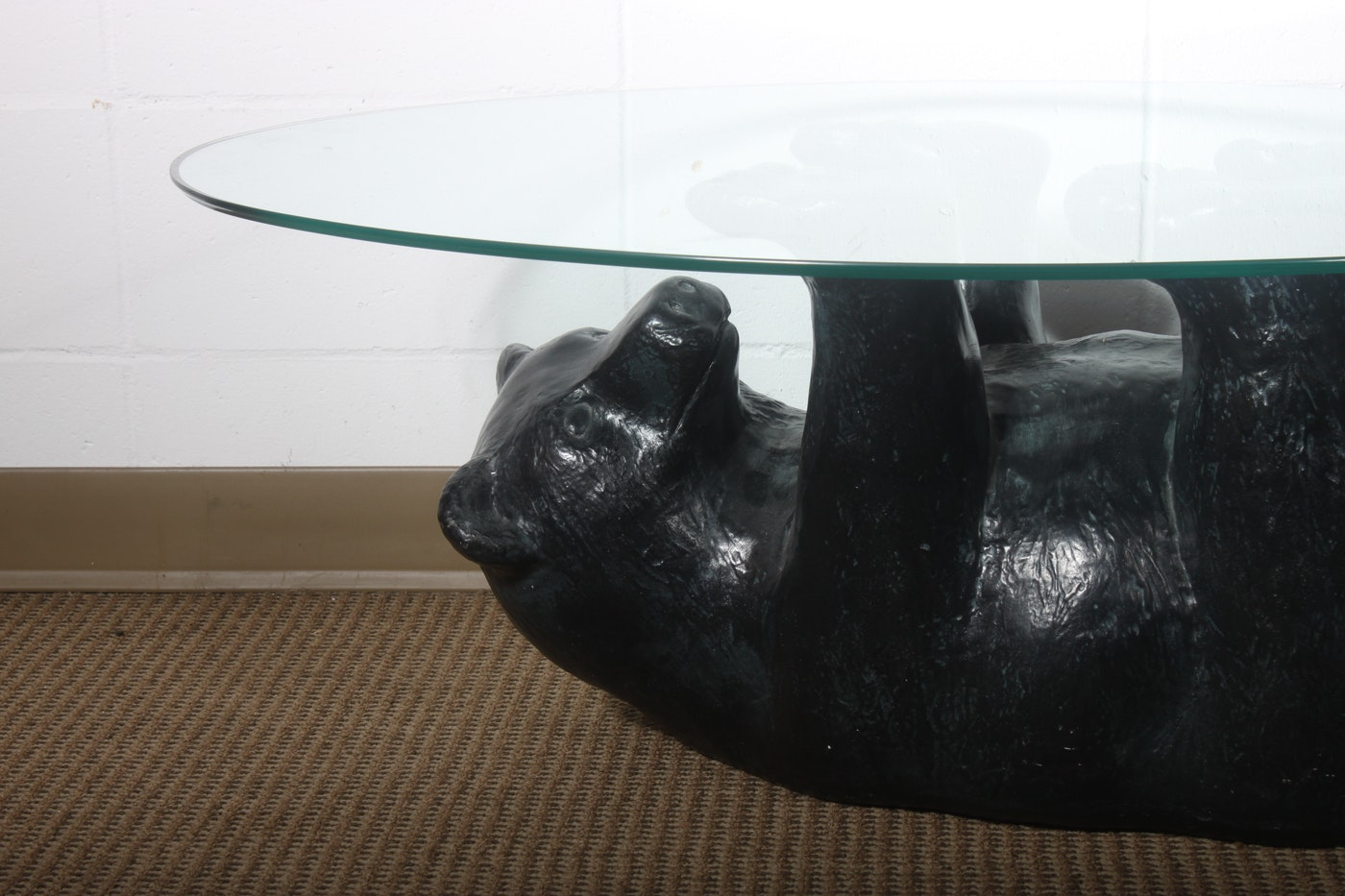 Glass Top Coffee Table With Black Bear Base Ebth