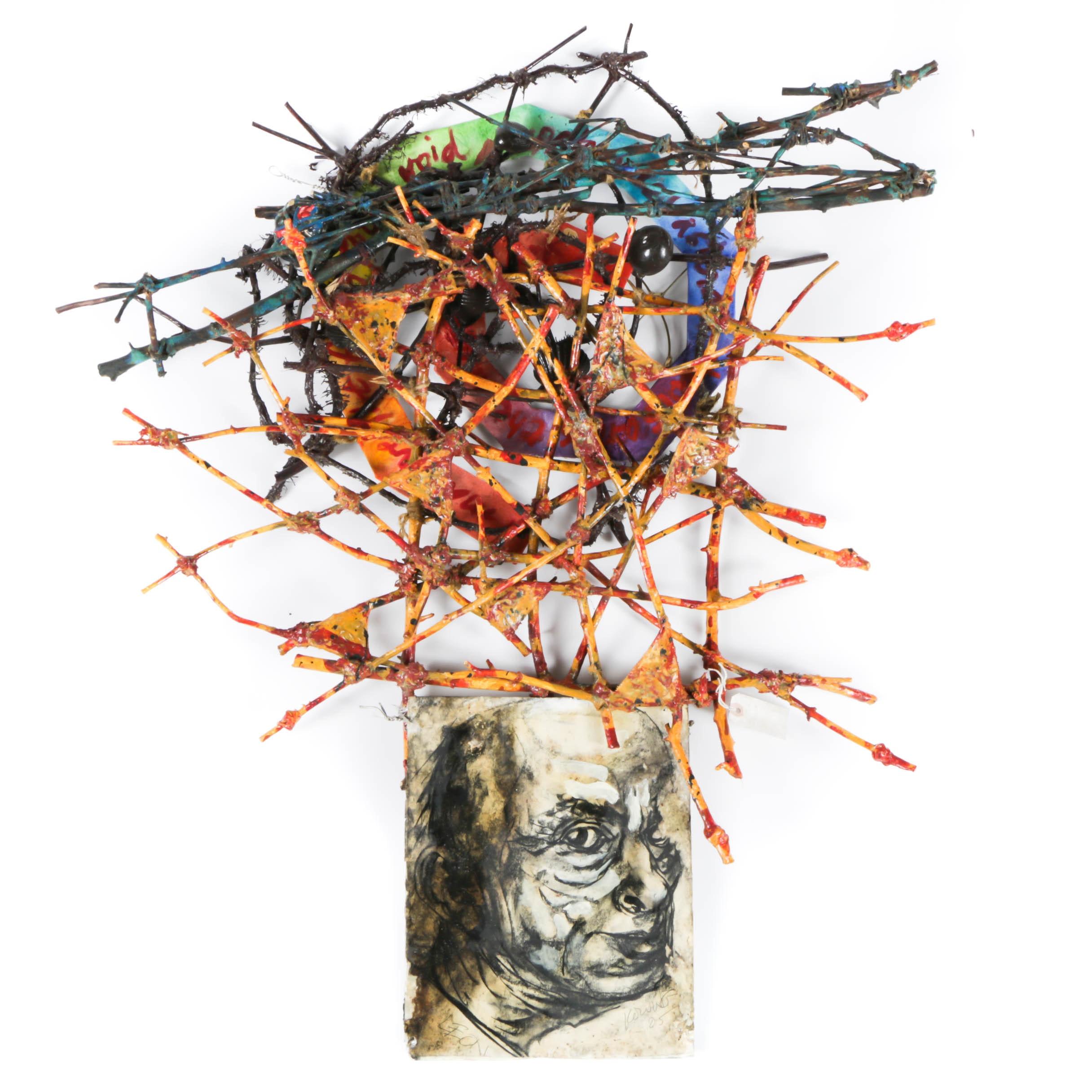 "Frank Kowing Mixed Media Sculpture ""Leon"""