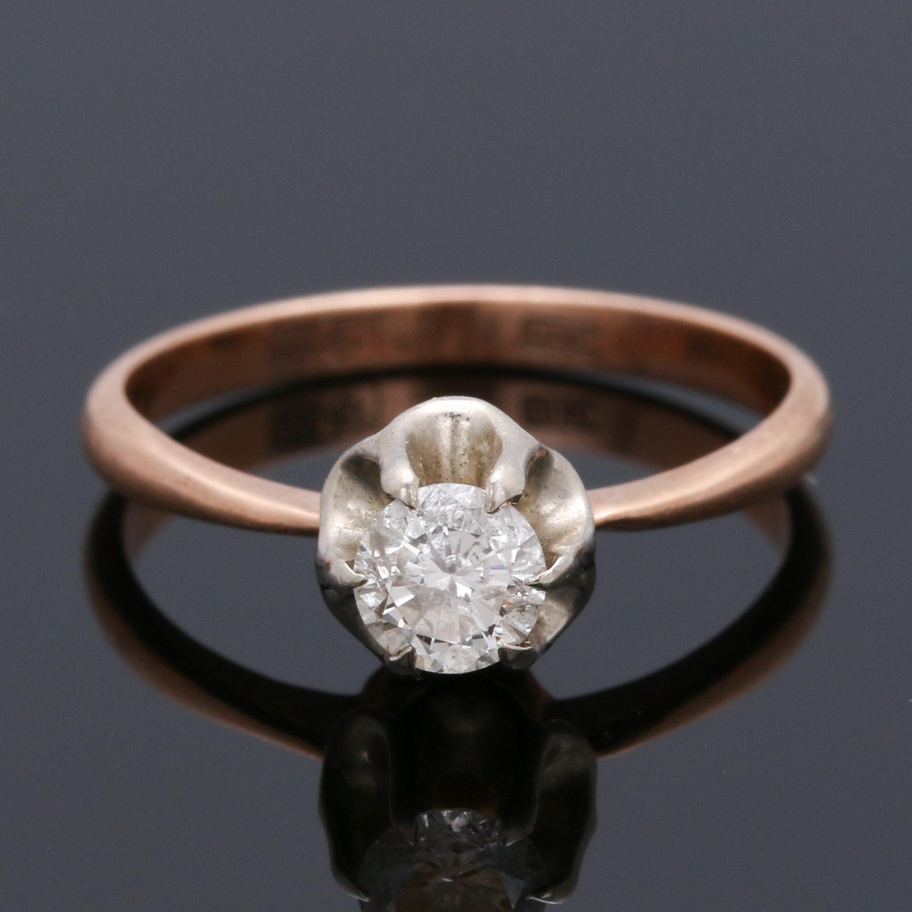 14K Two Tone Gold Diamond Solitaire Ring