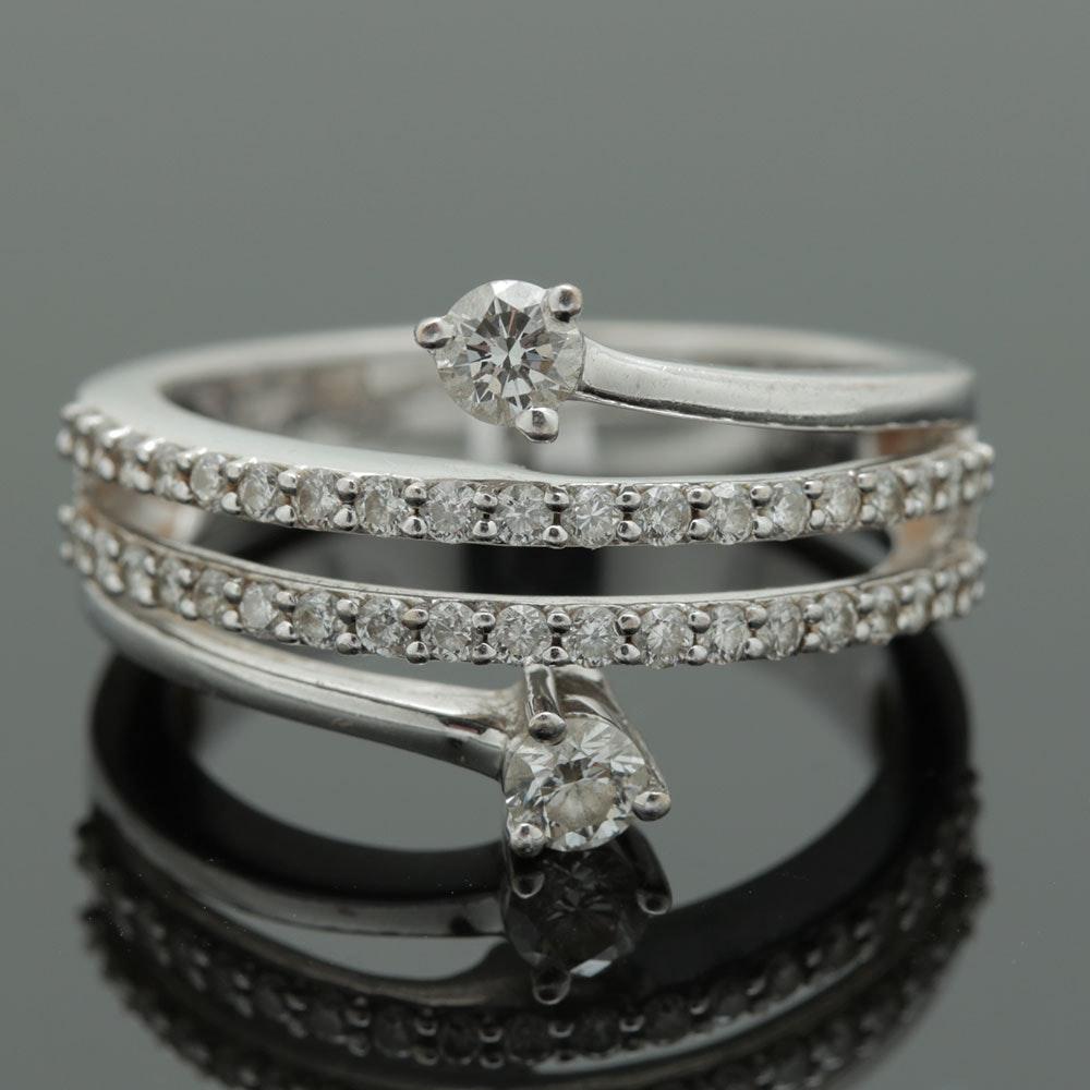 18K White Gold Diamond Bypass Ring