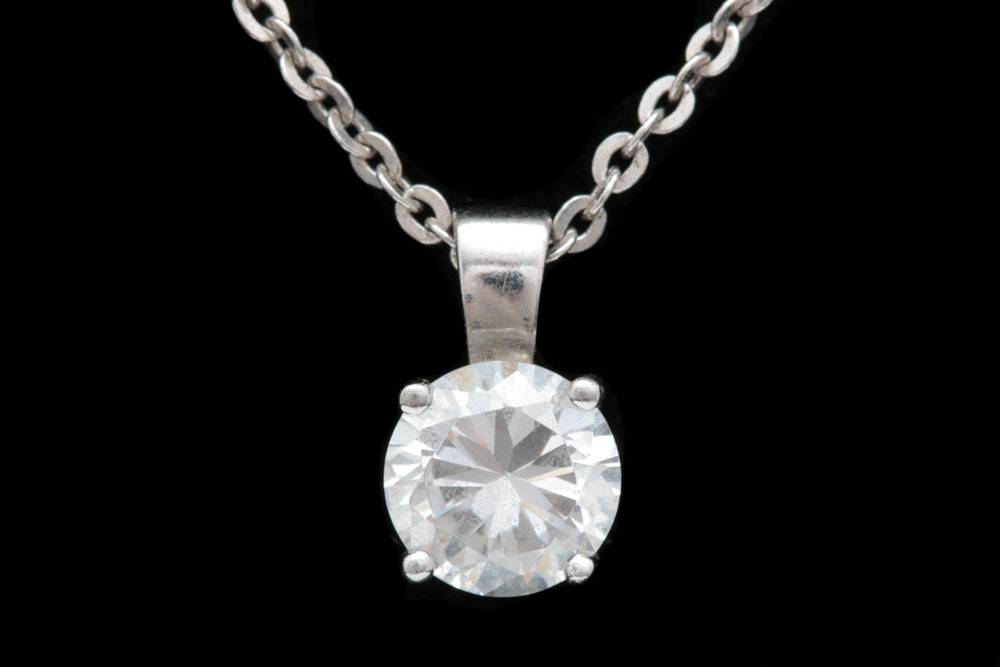 Sterling Silver and Cubic Zirconia Pendant with Chain.