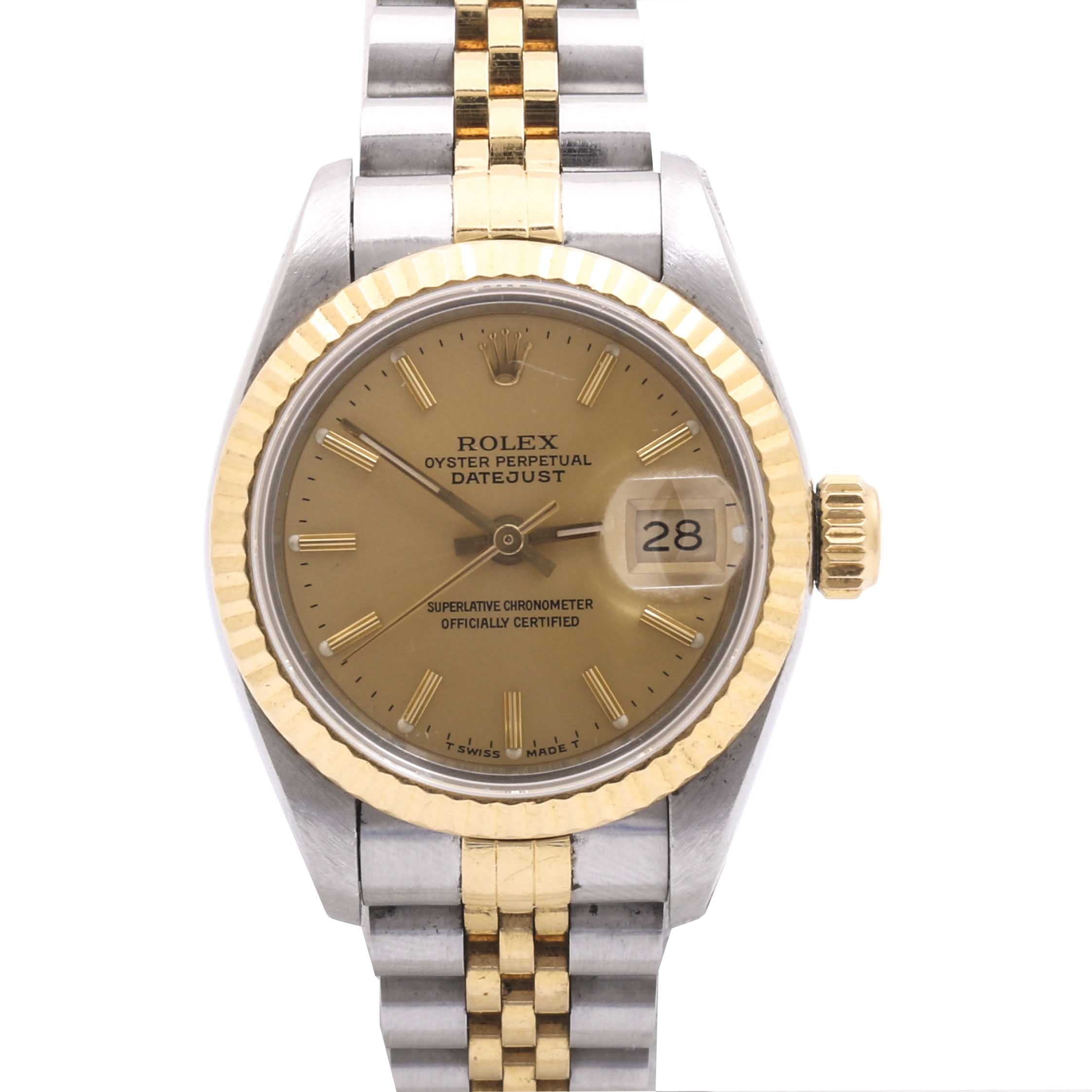 Rolex Oyster Perpetual 18K Yellow Gold and Stainless Steel Wristwatch