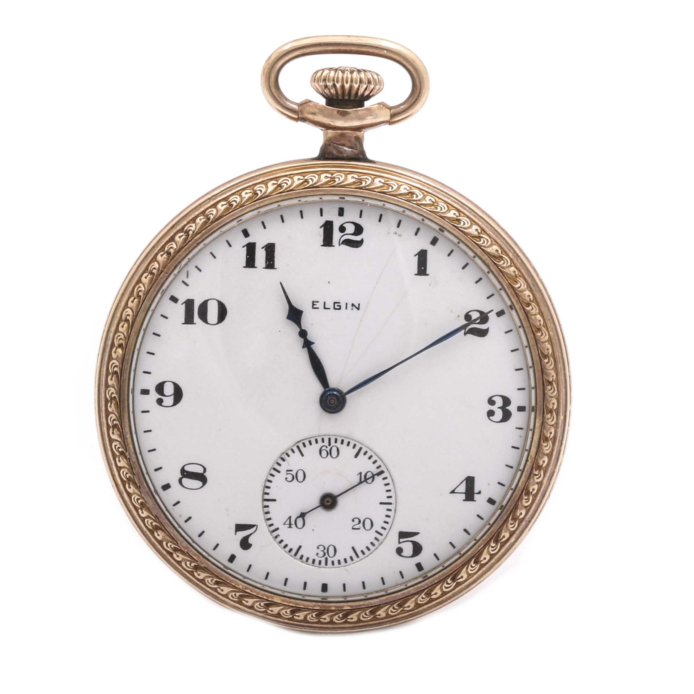 Semi-Antique Elgin Yellow Gold Filled Pocket Watch