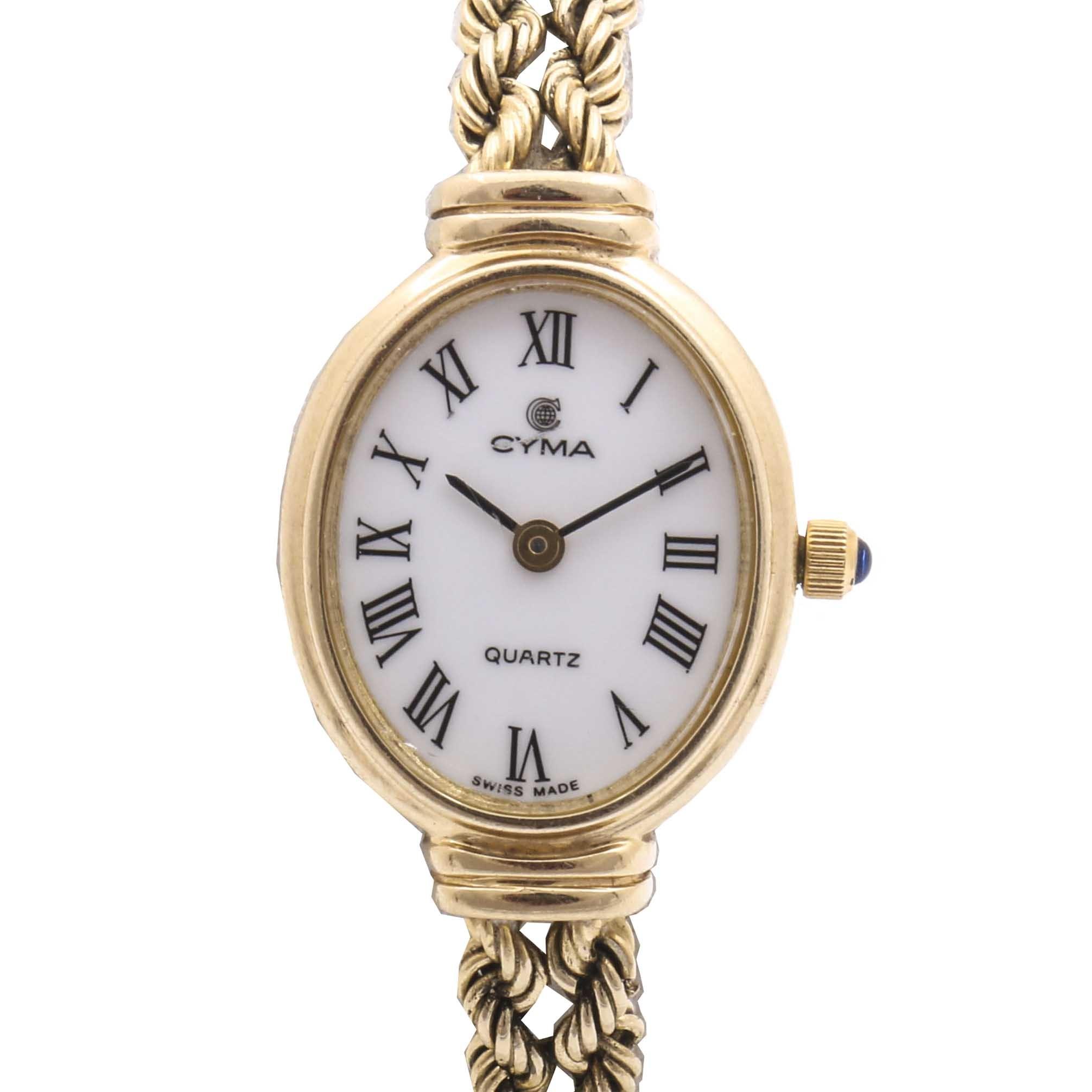 Cyma 14K Yellow Gold Rope Chain Wristwatch