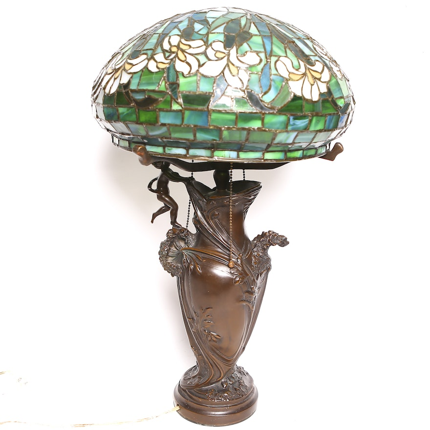 tiffany style stained glass cast metal lamp ebth. Black Bedroom Furniture Sets. Home Design Ideas