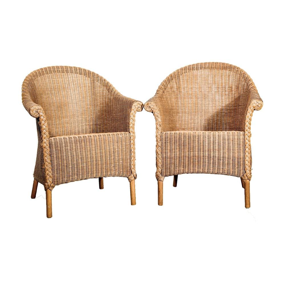 Two Wicker Armchairs By Palecek ...