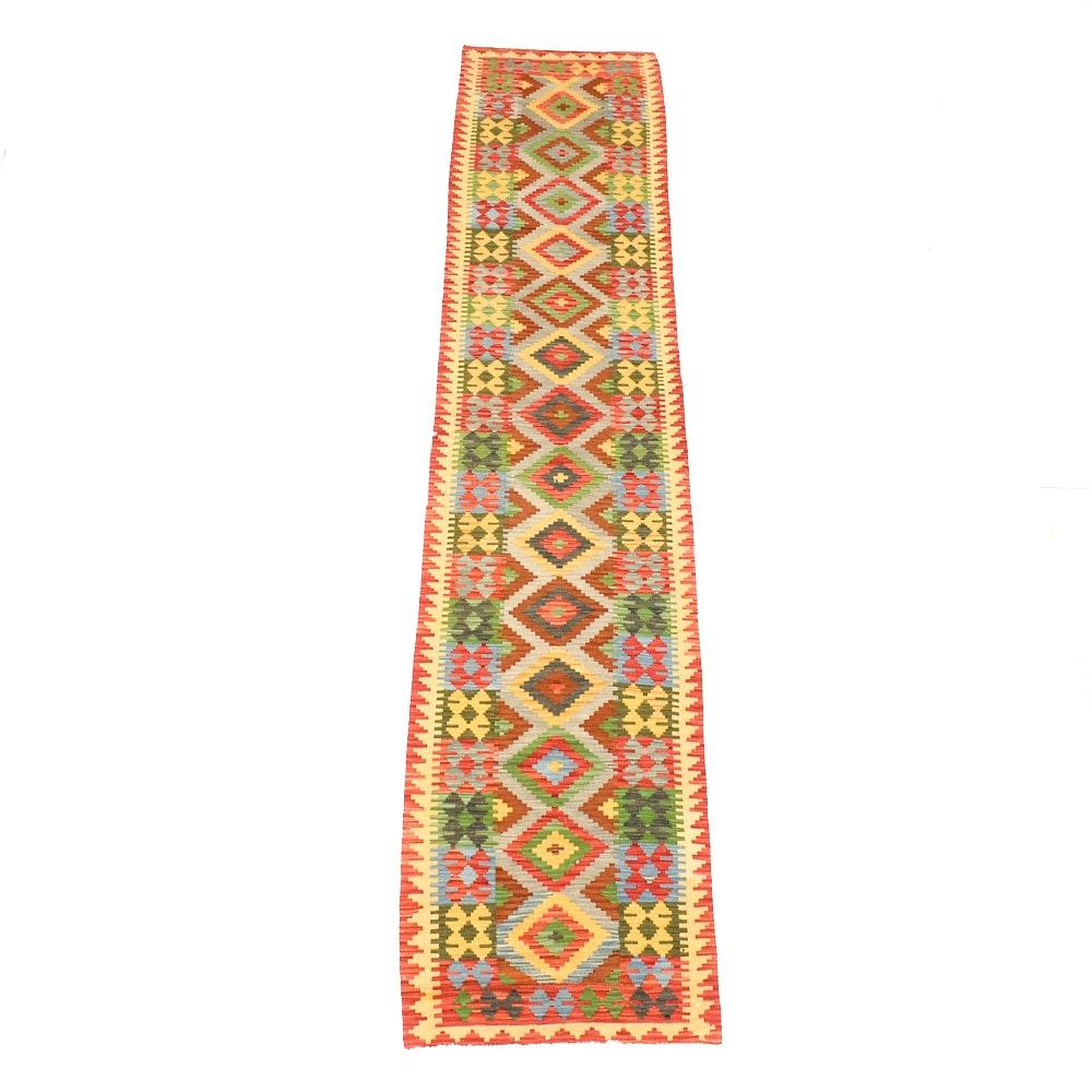Turkish Flatweave Kilim Wool Runner Rug