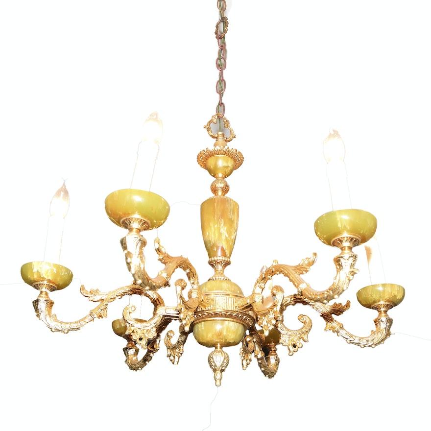Vintage yellow onyx chandelier ebth vintage yellow onyx chandelier aloadofball Gallery