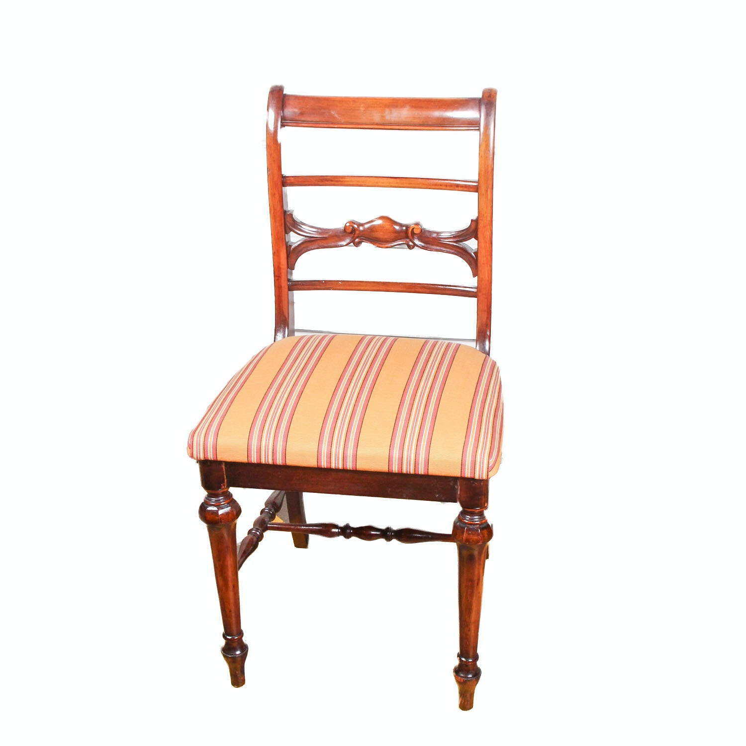 Vintage Wood Chair with Striped Seat Cushion