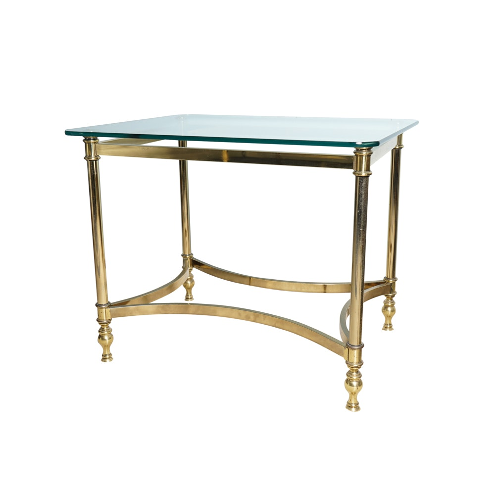 Hollywood Regency Style Glass And Metal Side Table ...