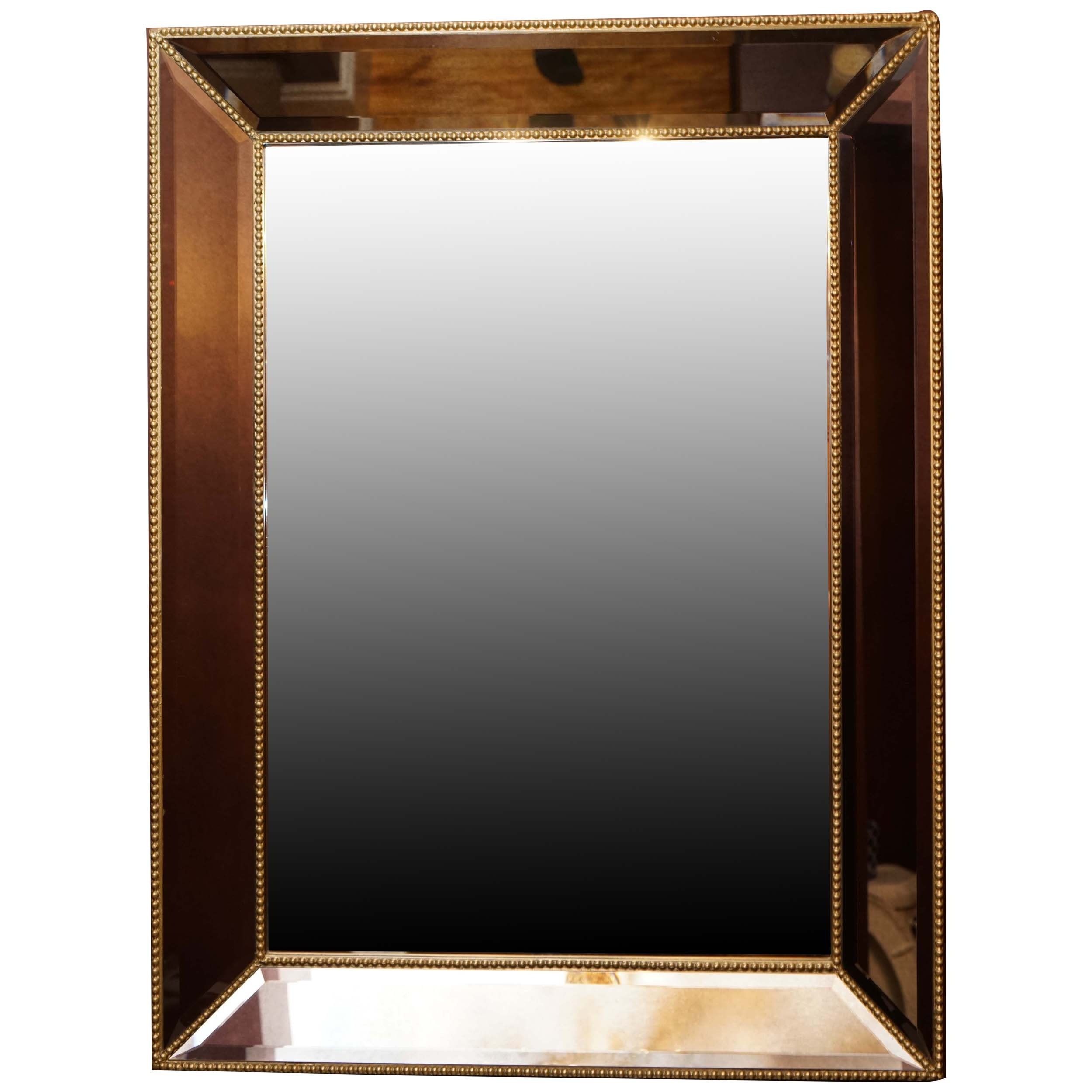 Wall Mirror With Mirrored Frame and Beadwork Detailing