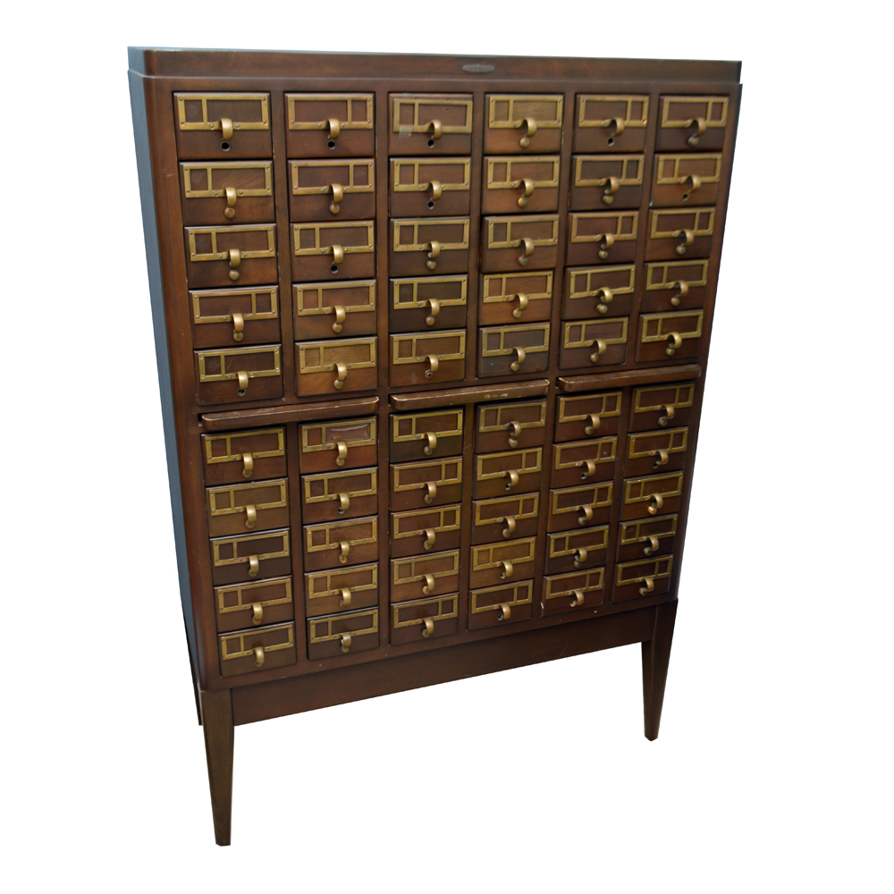 Vintage Library Card Catalog Cabinet by Remington Rand Library