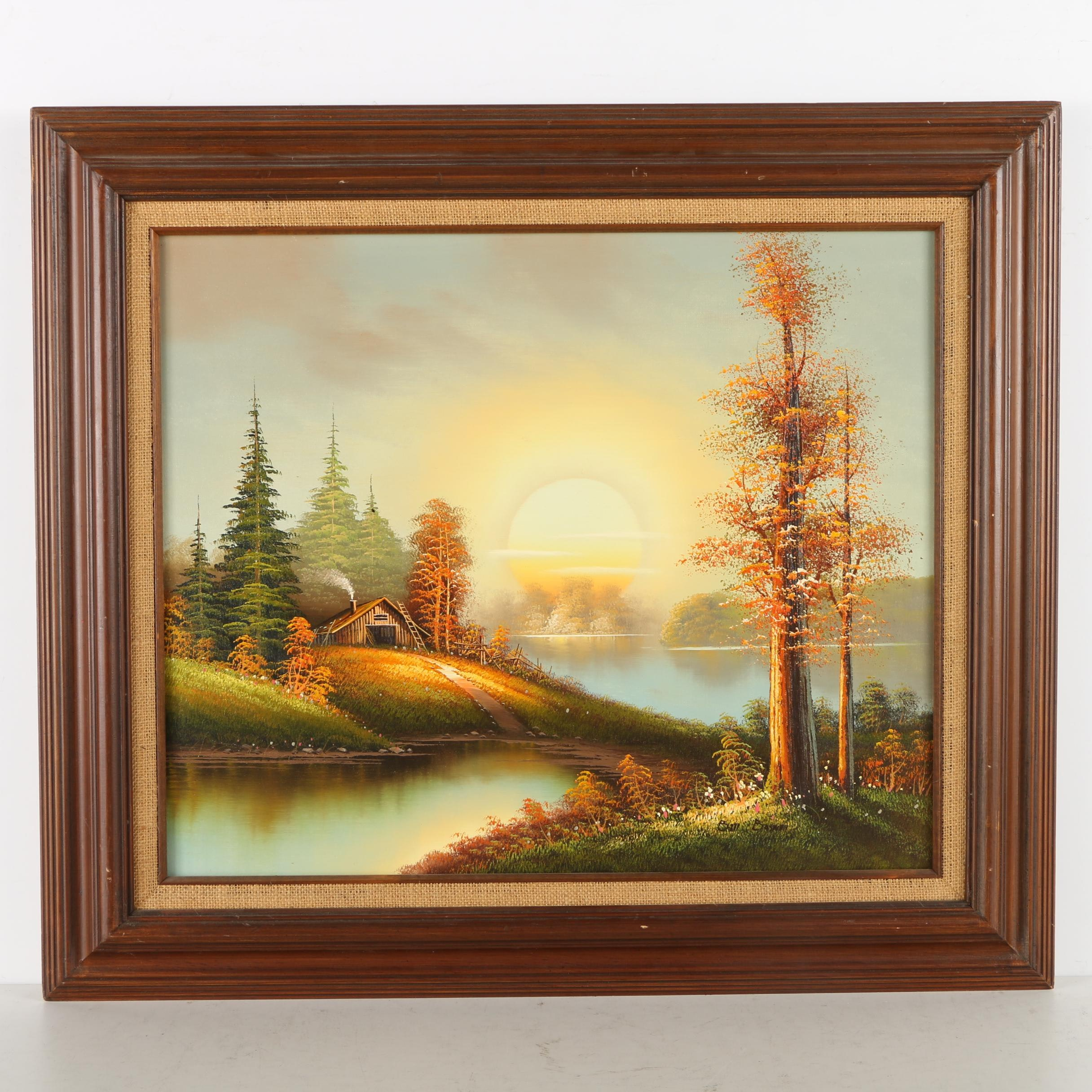 Bill Boswell Oil Painting of a Cabin at Sunrise