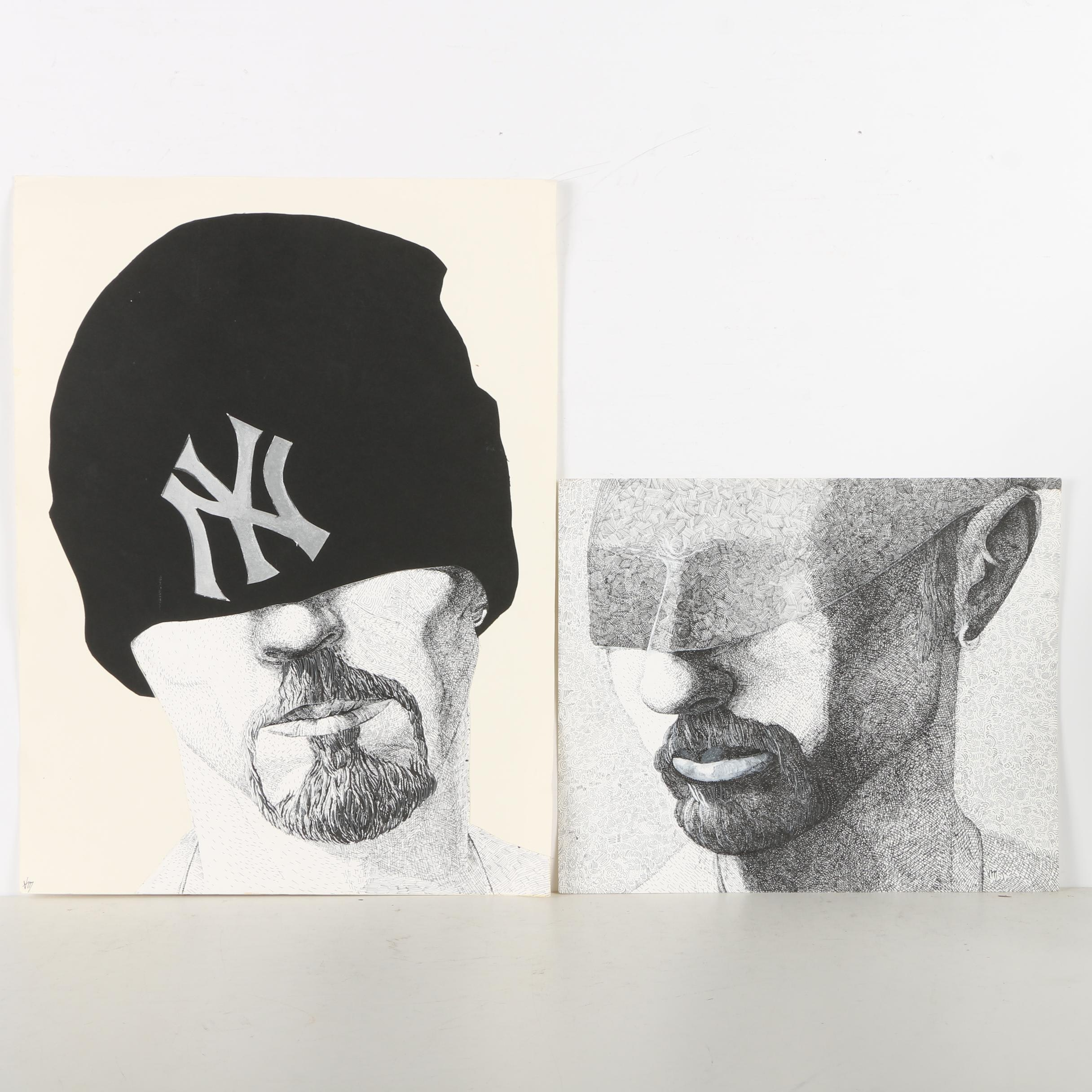 "Two Vjeran Miljenovic Mixed Media Drawings ""donJuan"" and "" N.Y."""