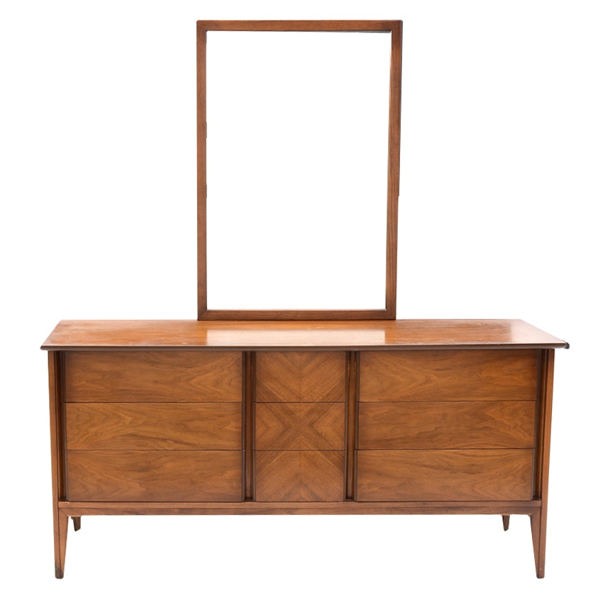 Walnut Triple Dresser with Mirror