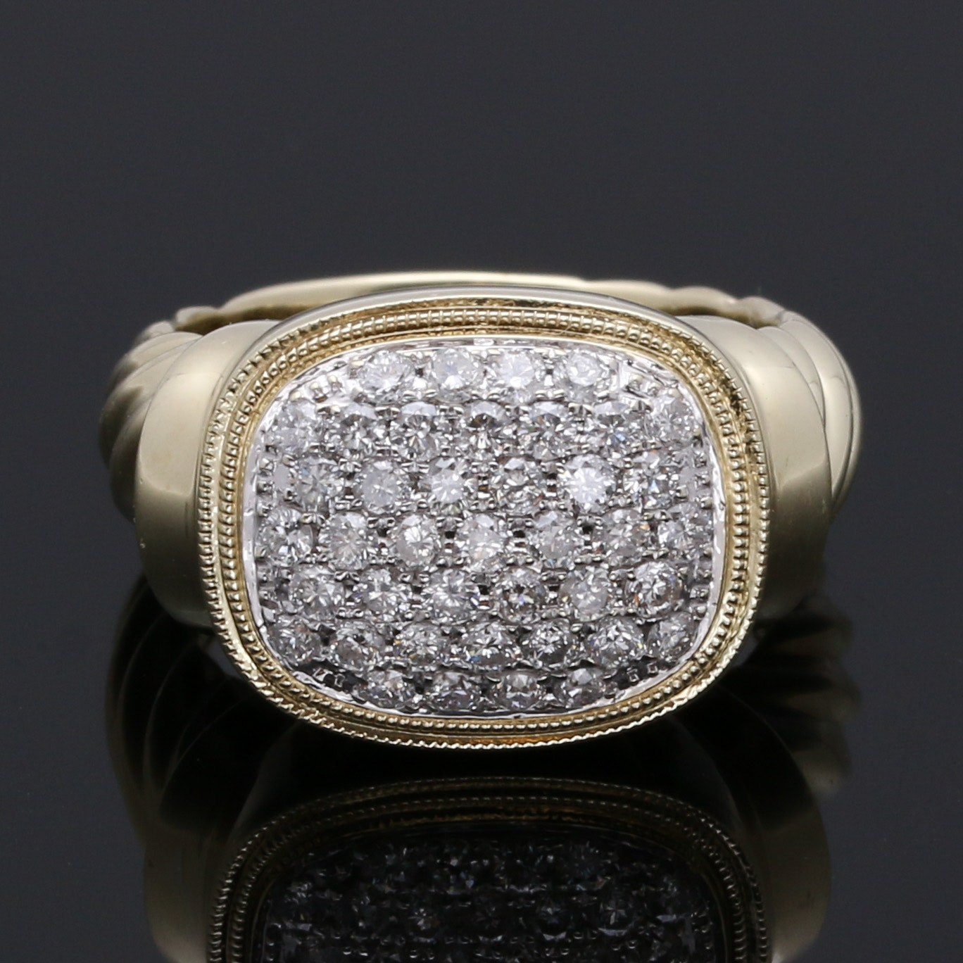 14K Yellow Gold 0.82 CTW Diamond Cluster Ring
