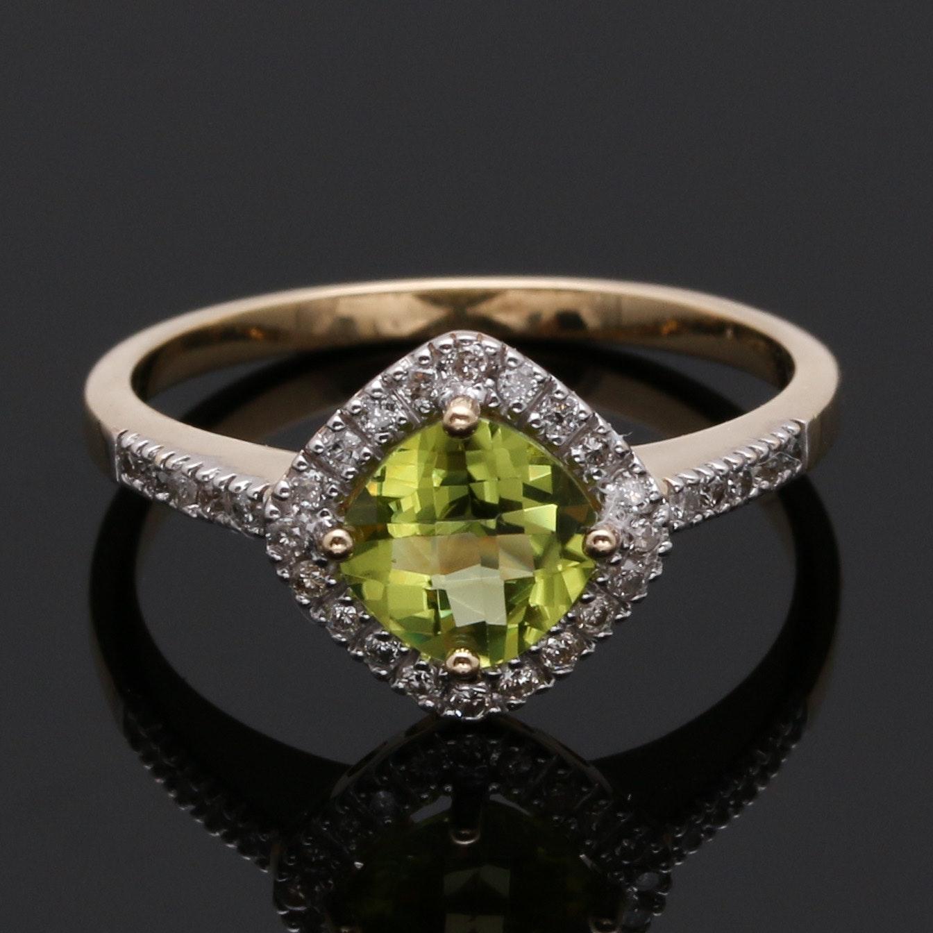 14K Yellow Gold Peridot and 0.10 CTW Diamond Halo Ring