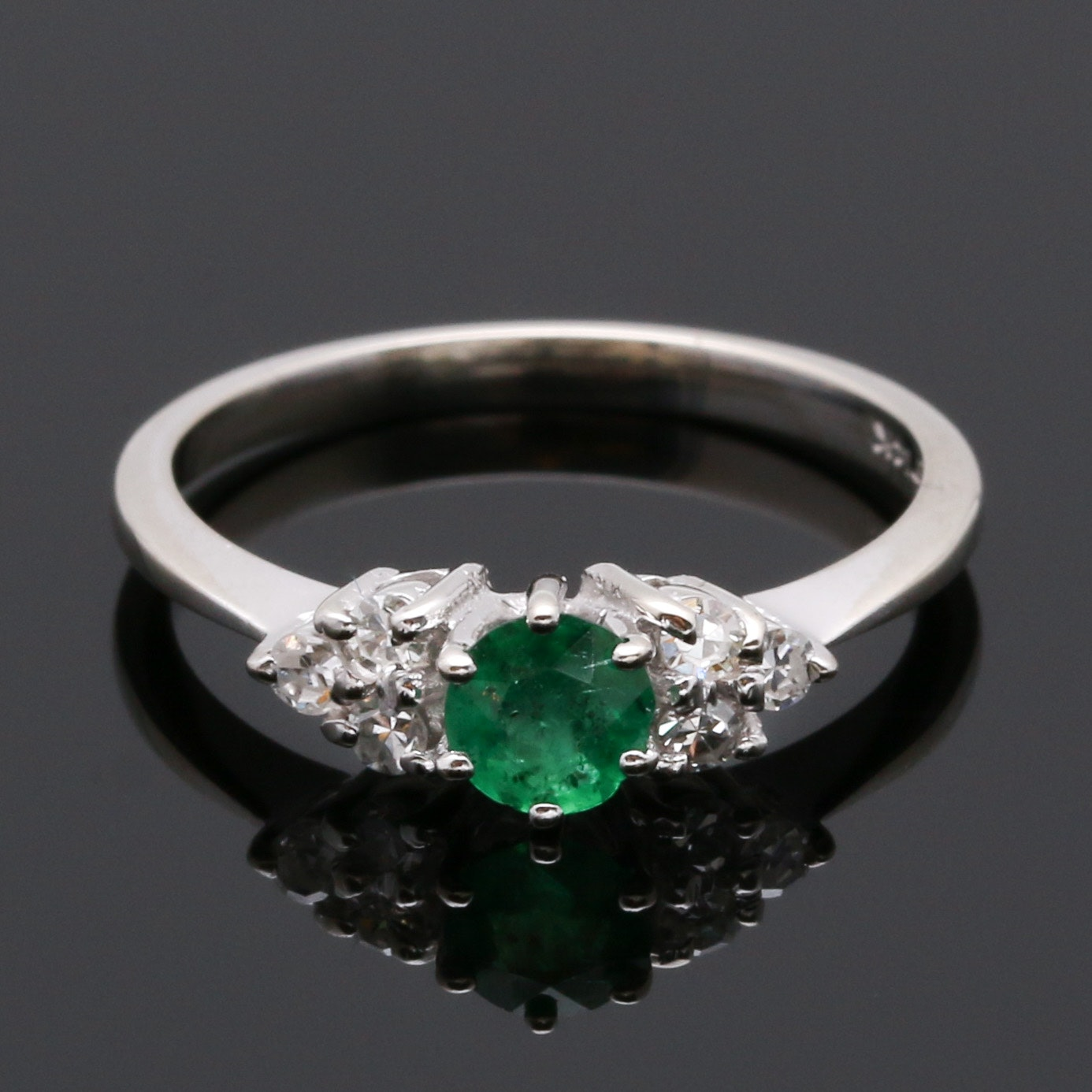 14K White Gold Emerald and 0.18 CTW Diamond Ring