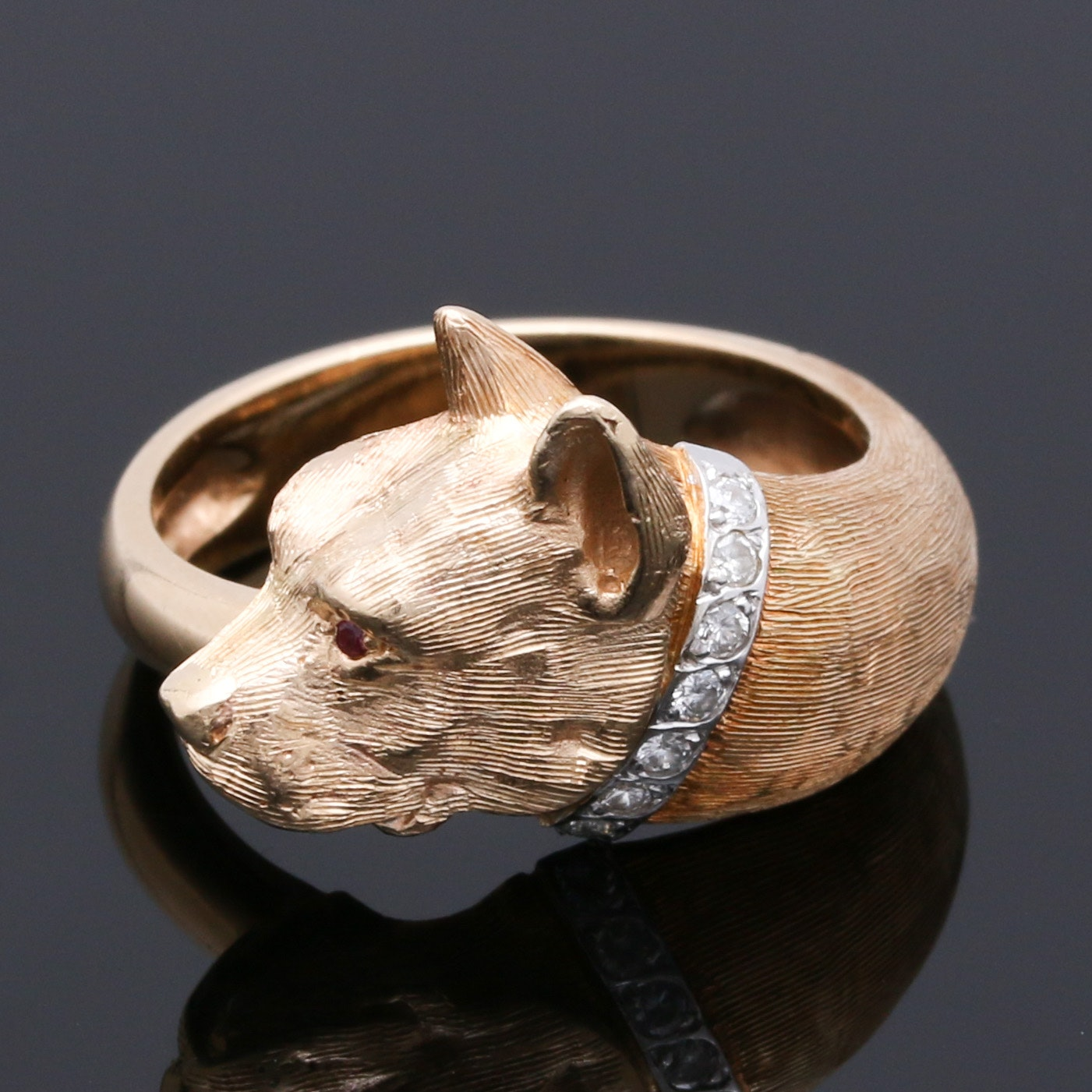 14K Yellow Gold Pit Bull Ring with  0.10 CTW Diamonds