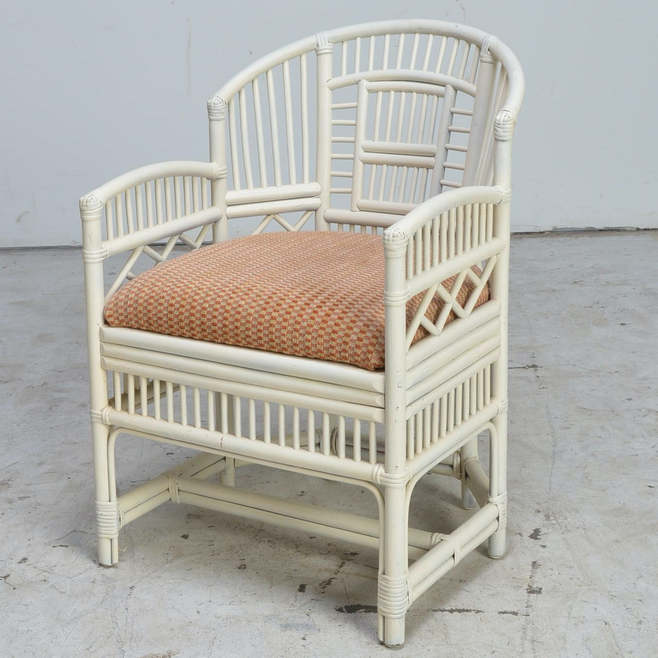 Vintage White Cane Or Bamboo Armchair