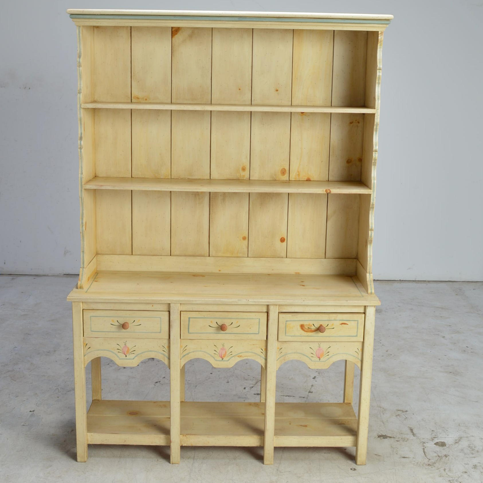 Hand Painted Pine Sideboard with Hutch