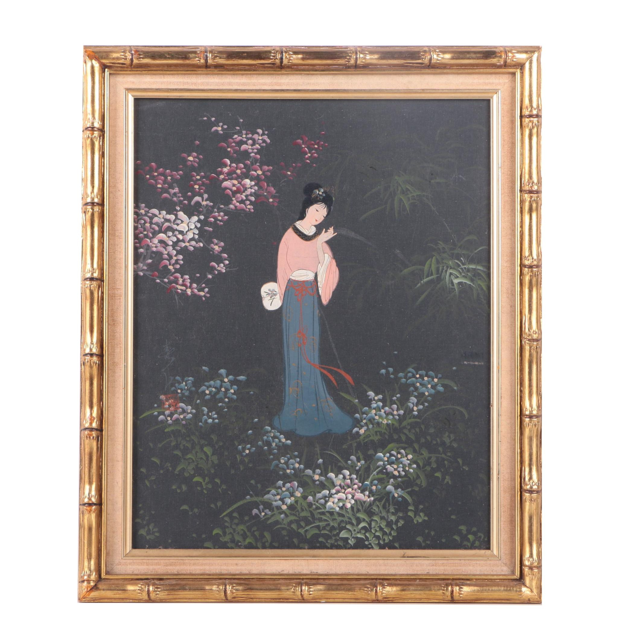 East Asian Style Oil Painting on Canvas of Woman