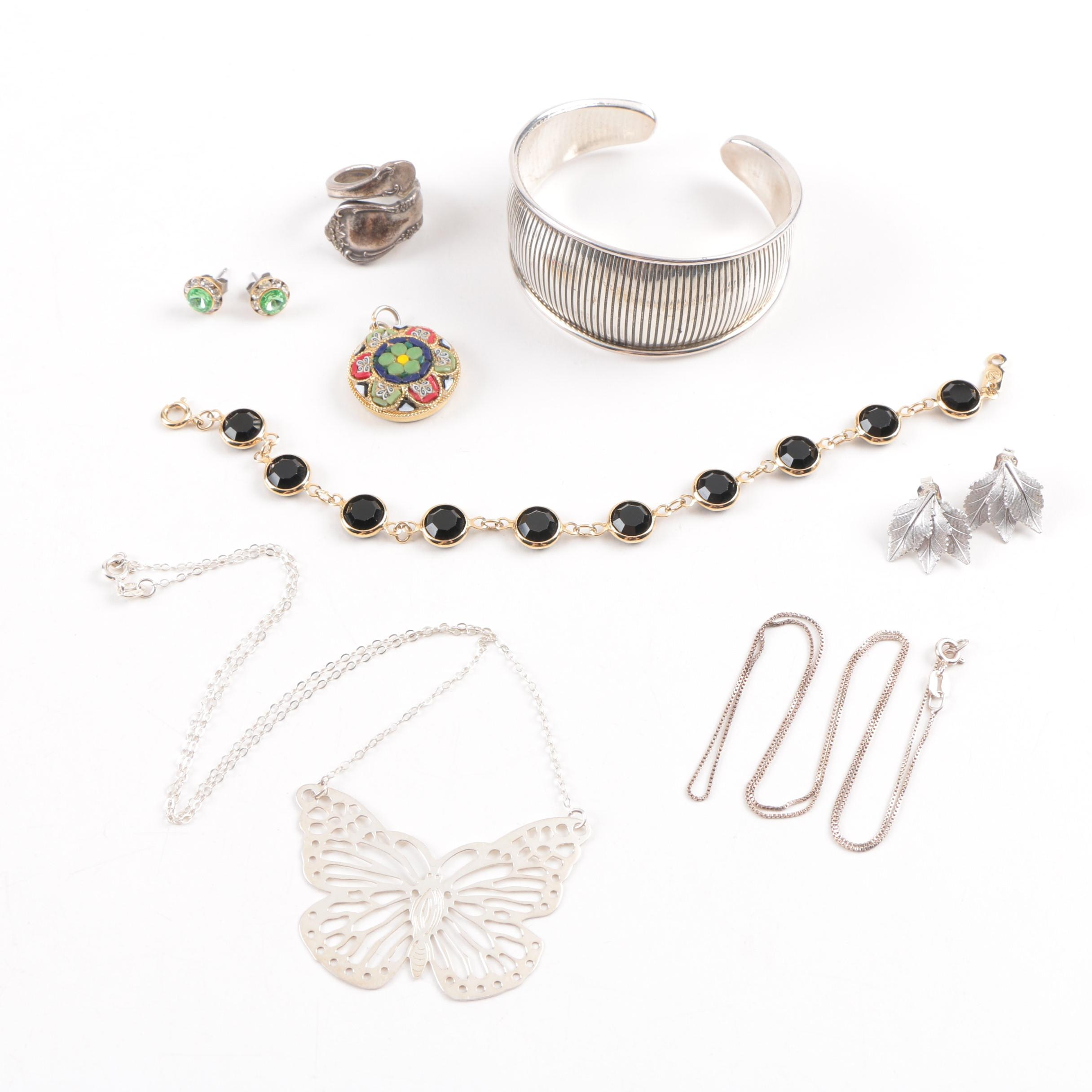 Assorted Costume Jewelry Including Sterling Silver
