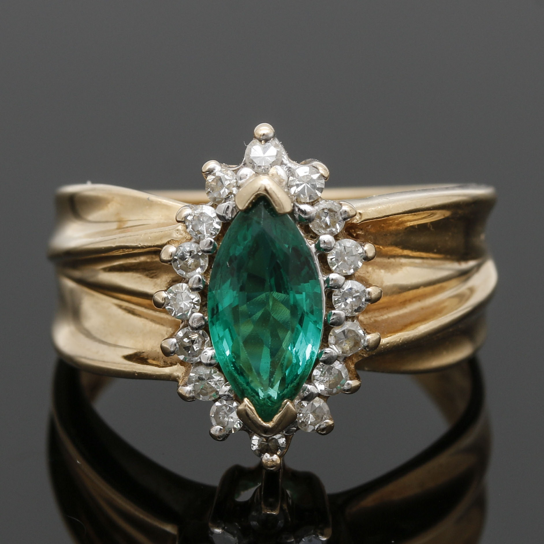 14K Yellow Gold Emerald and Diamond Marquise Ring