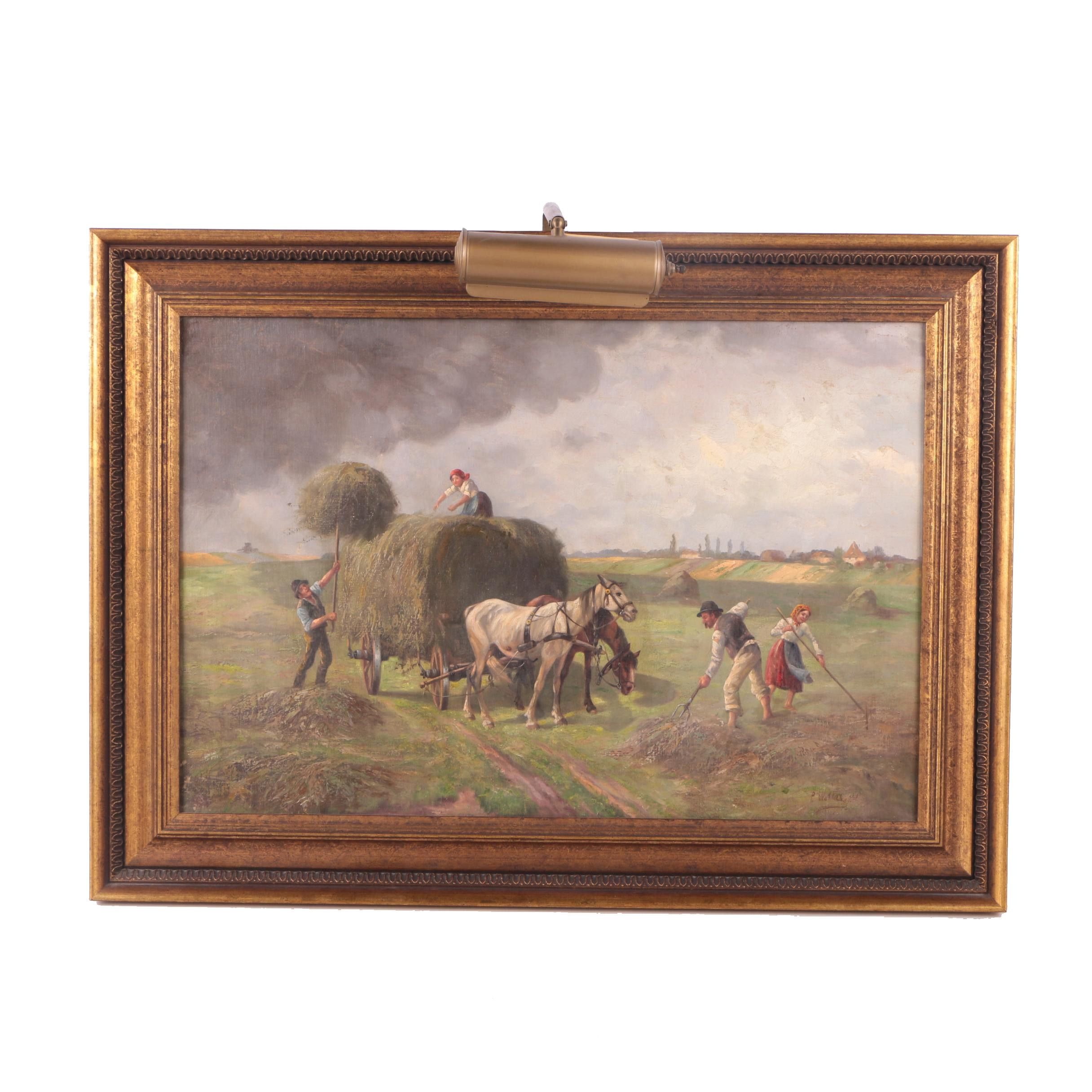 Oil Painting on Canvas of Farm Scene