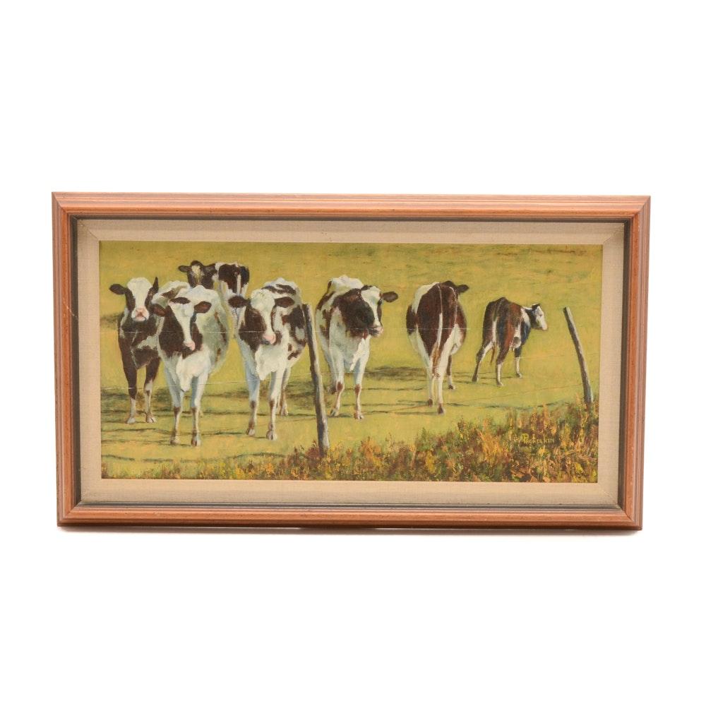 Prokolkin Signed Original Oil Pastoral Landscape on Canvas