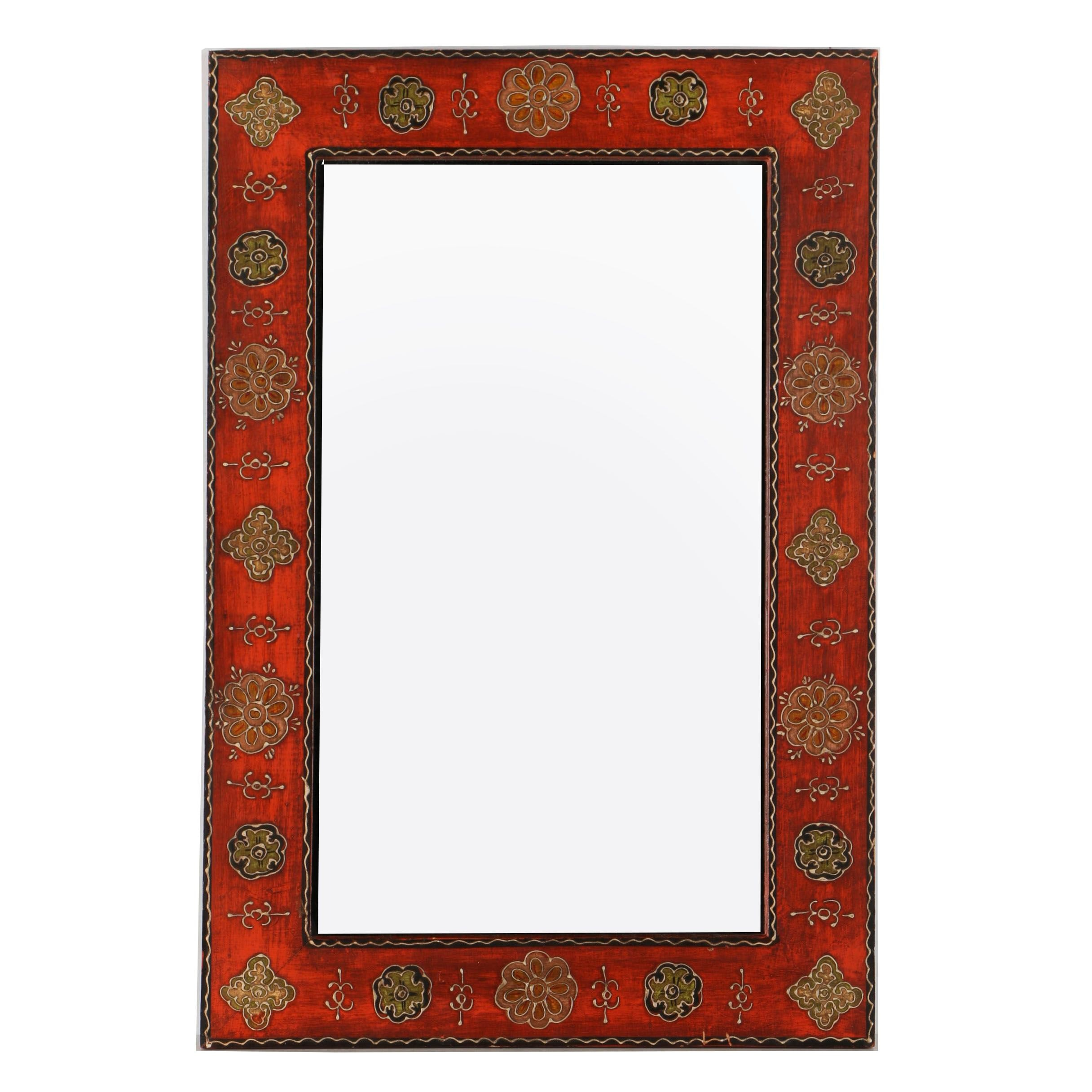 Hand Painted Wooden Wall Mirror