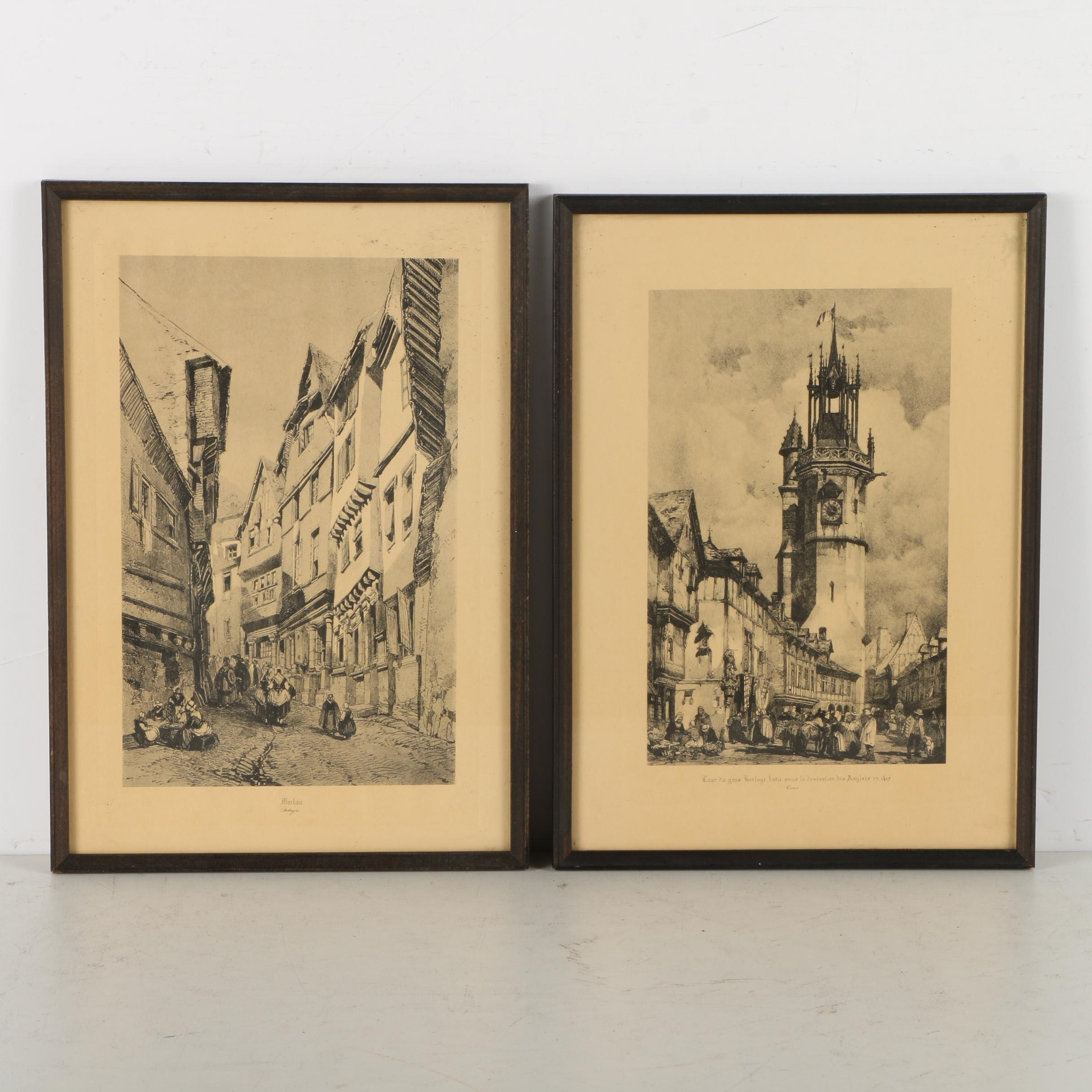 Collection of Lithograph Prints on Paper of French Street Scenes