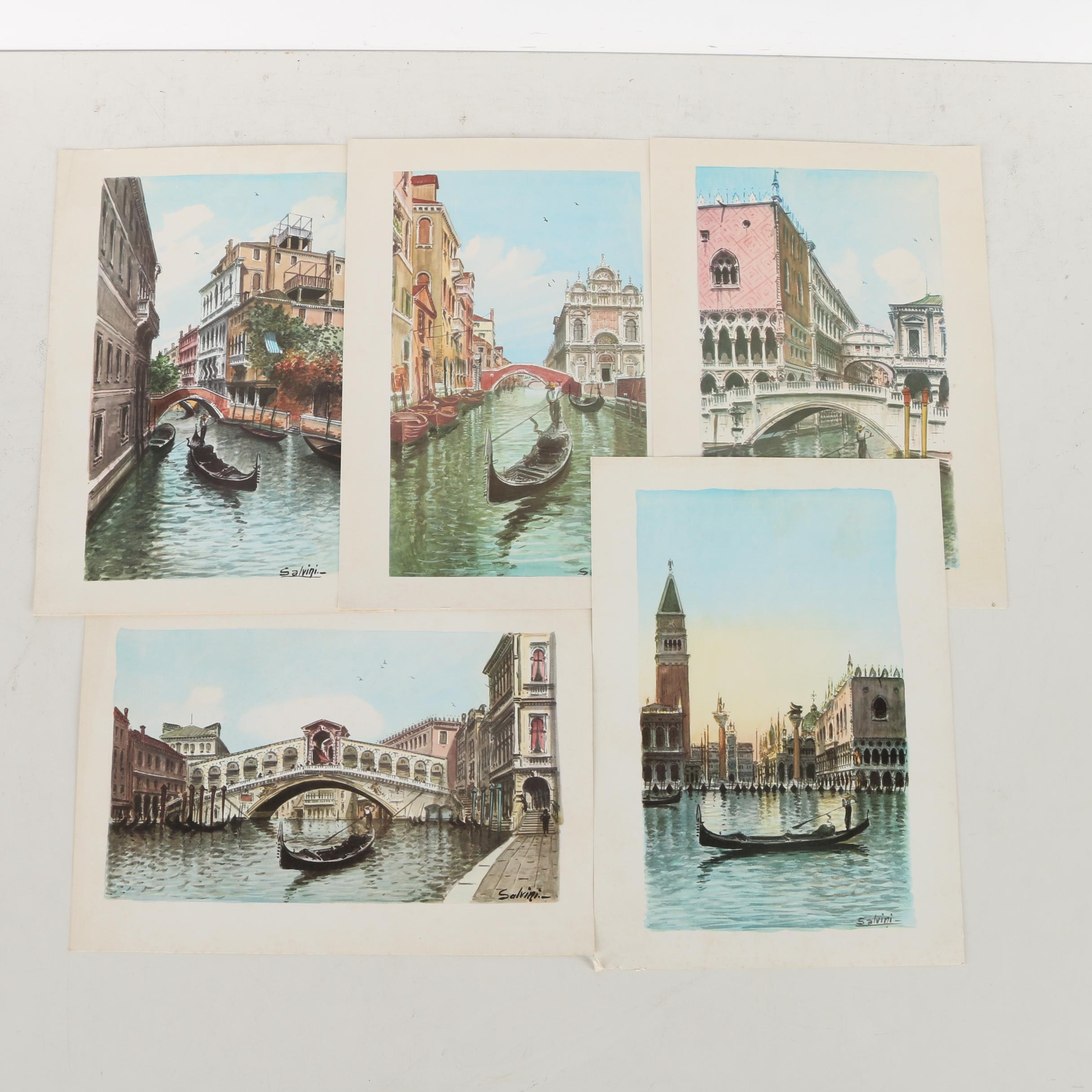 Collection of Offset Lithographs on Paper of Venetian Scenes after Salvini
