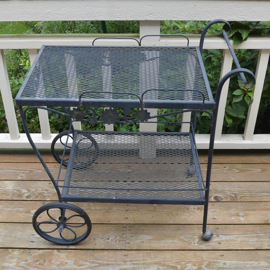 Rus Woodard Style Wrought Iron Garden Serving Cart
