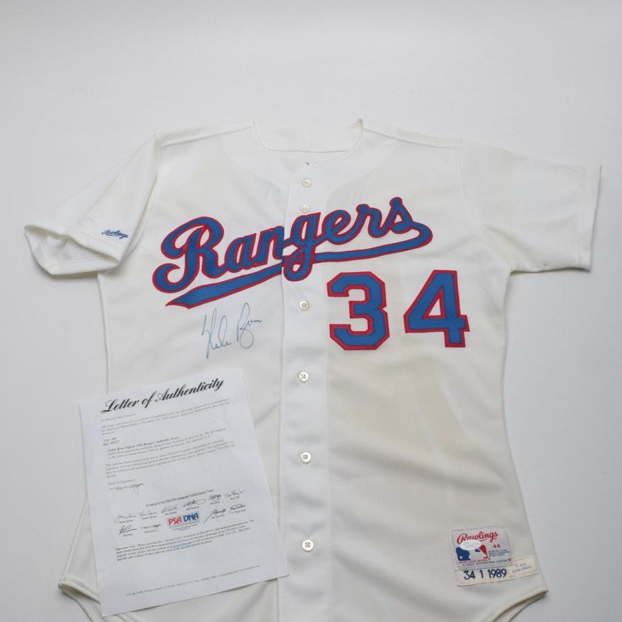 size 40 e90b3 f9acf Nolan Ryan Signed Game Worn Texas Rangers Jersey