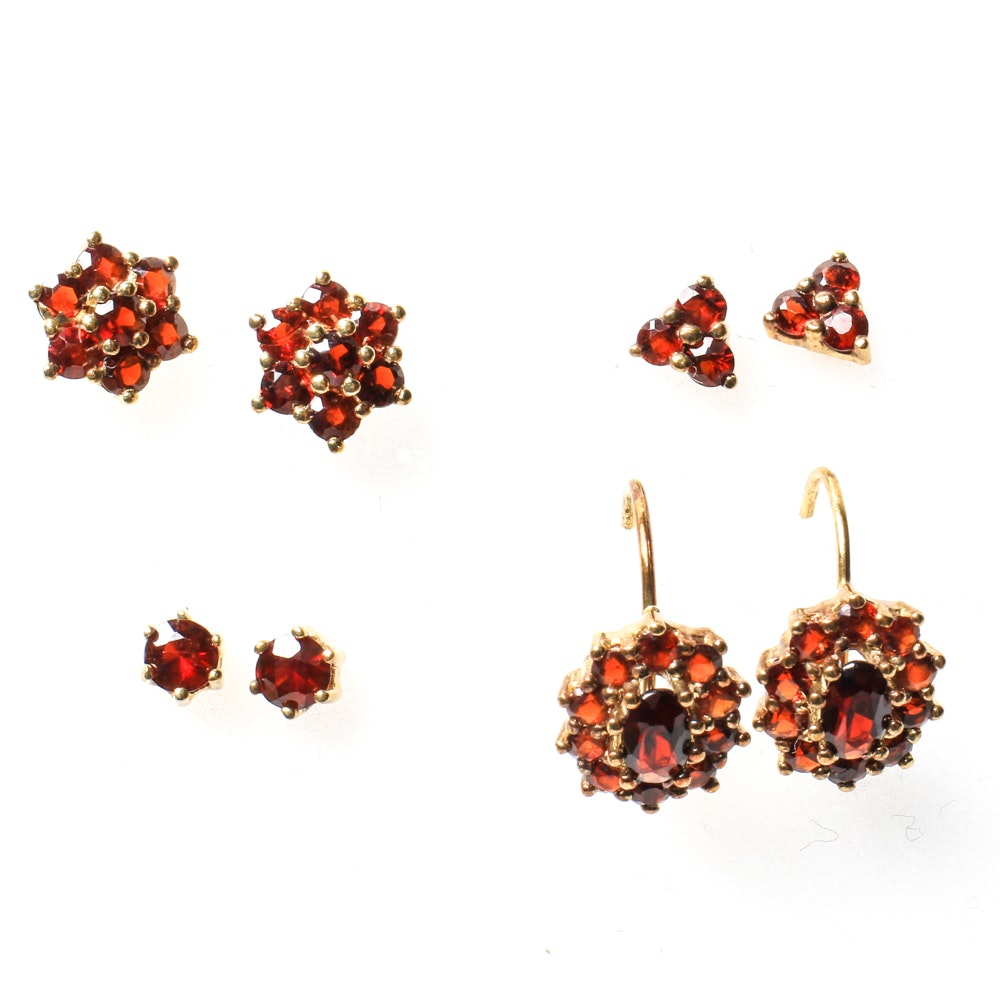 Collection of 8K Yellow Gold and Garnet Earrings